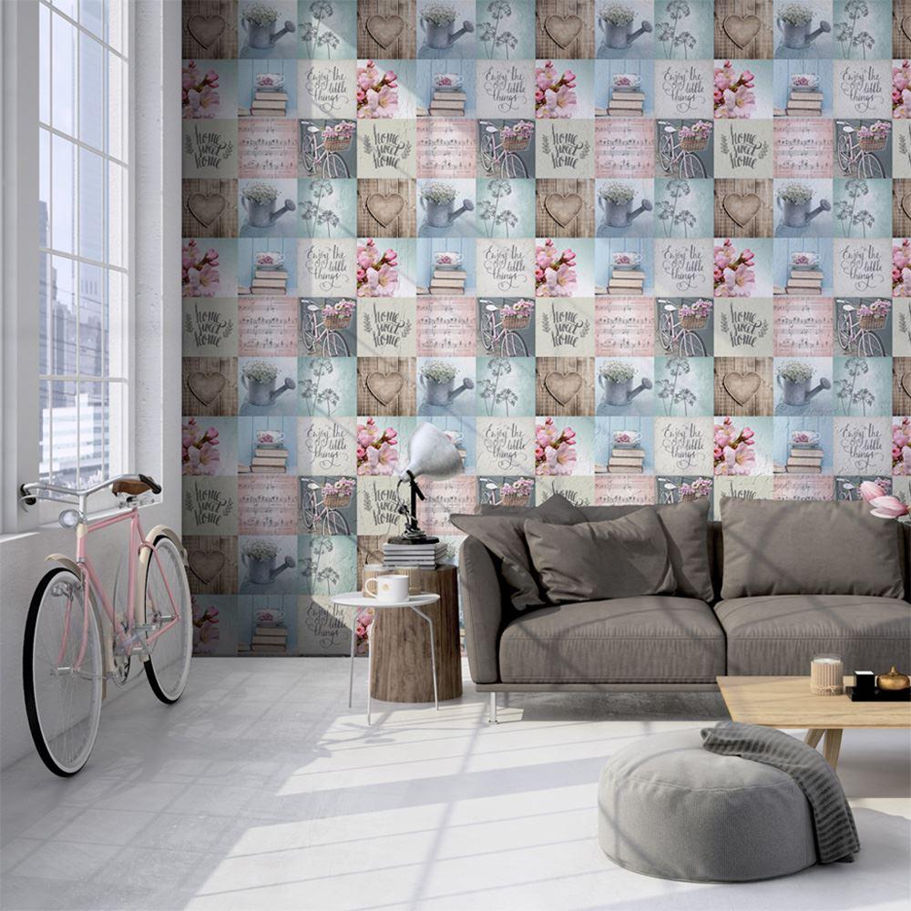 faule tage tapete muriva 102564 shabby chic ebay. Black Bedroom Furniture Sets. Home Design Ideas