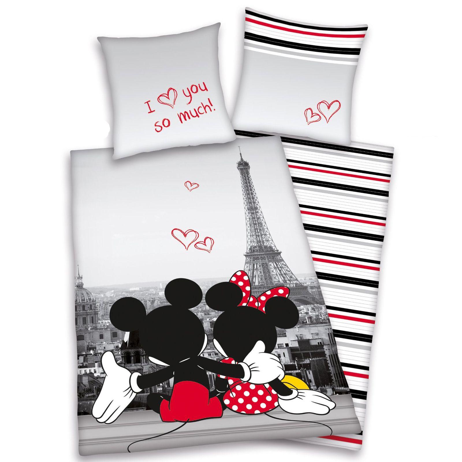 Mickey Amp Minnie Mouse Paris Single Duvet Cover Eiffel