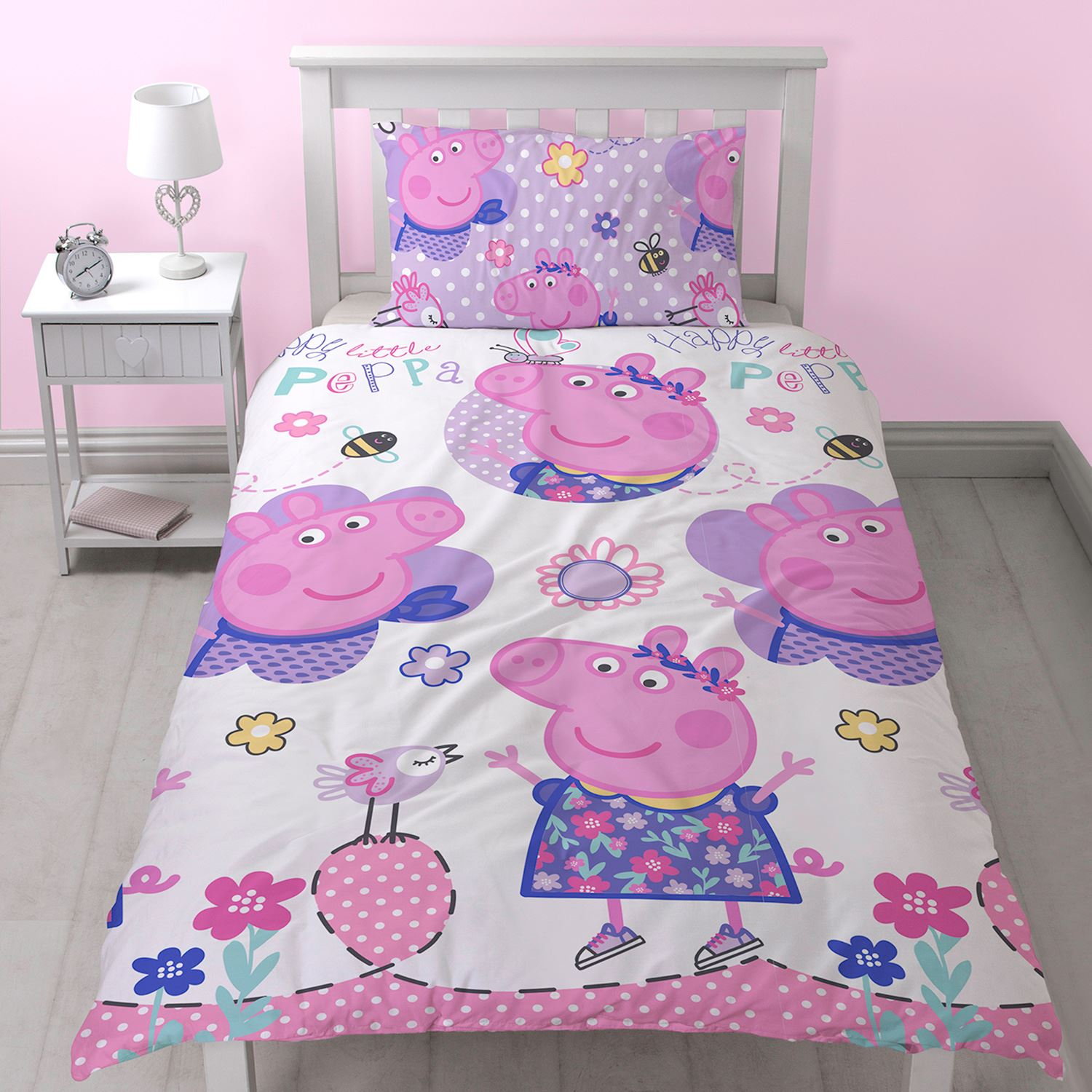 Peppa pig happy single duvet cover set reversible new for George pig bedroom ideas