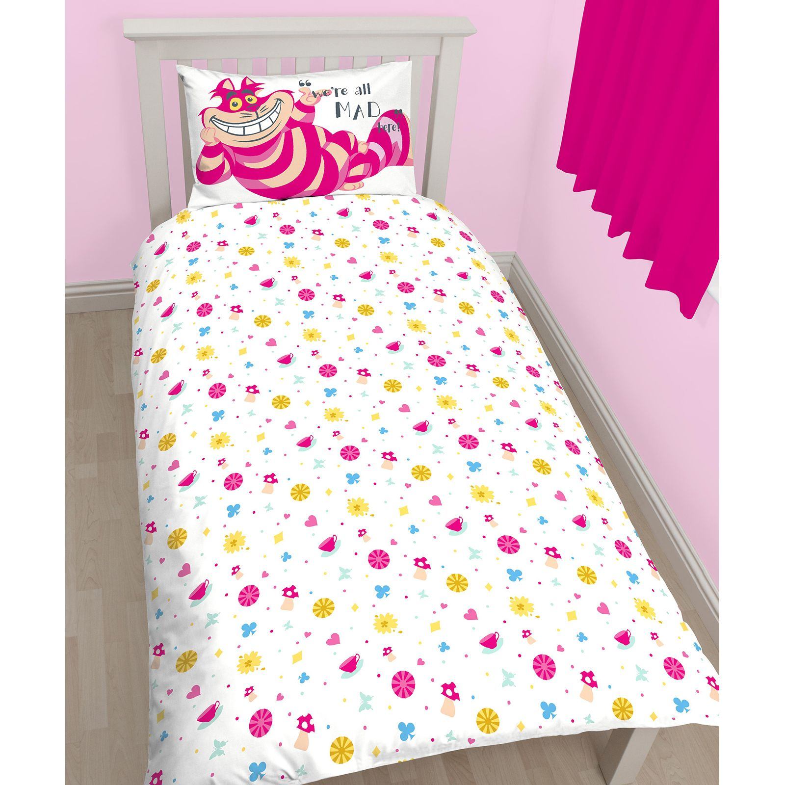 ALICE IN WONDERLAND CURIOUS SINGLE DUVET COVER WITH PILLOWCASE KIDS ...