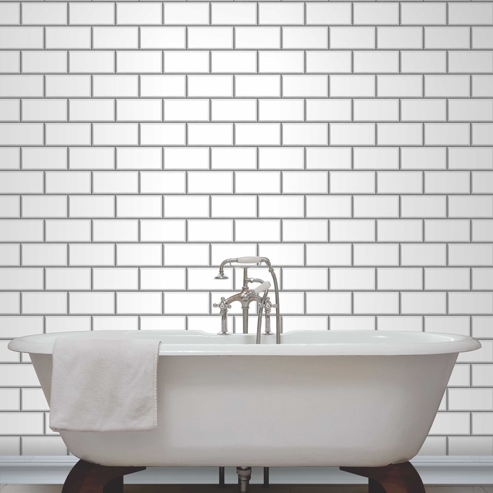 Fine decor subway tile effect wallpaper black white for Tile effect bathroom wallpaper