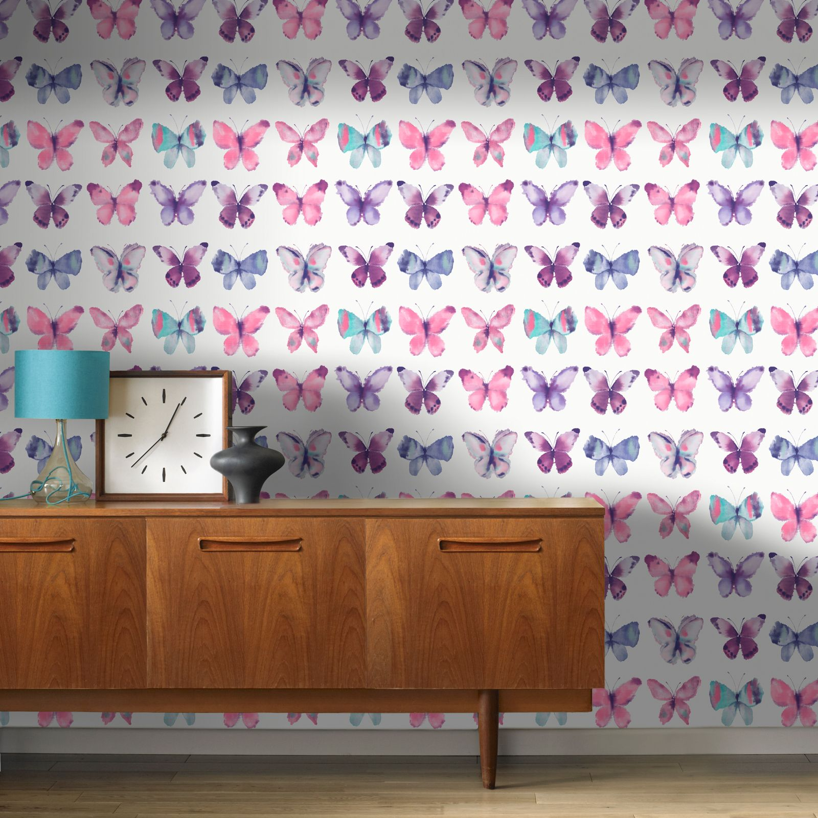 Pink butterflies wallpaper rasch 273618 new butterfly for Butterfly bedroom ideas