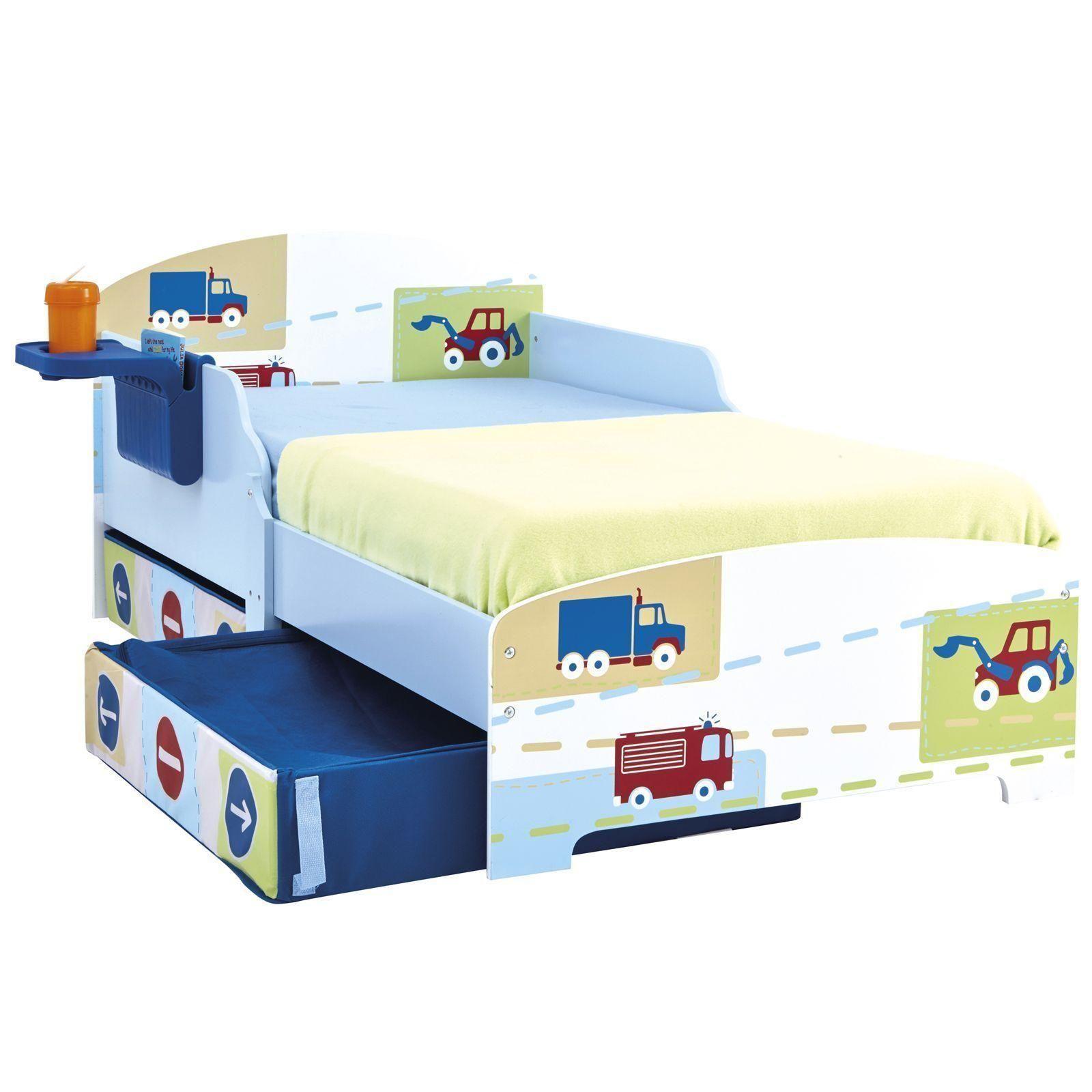 kinderbett jungen trucks traktoren mit bettkasten stauraum federmatratze ebay. Black Bedroom Furniture Sets. Home Design Ideas