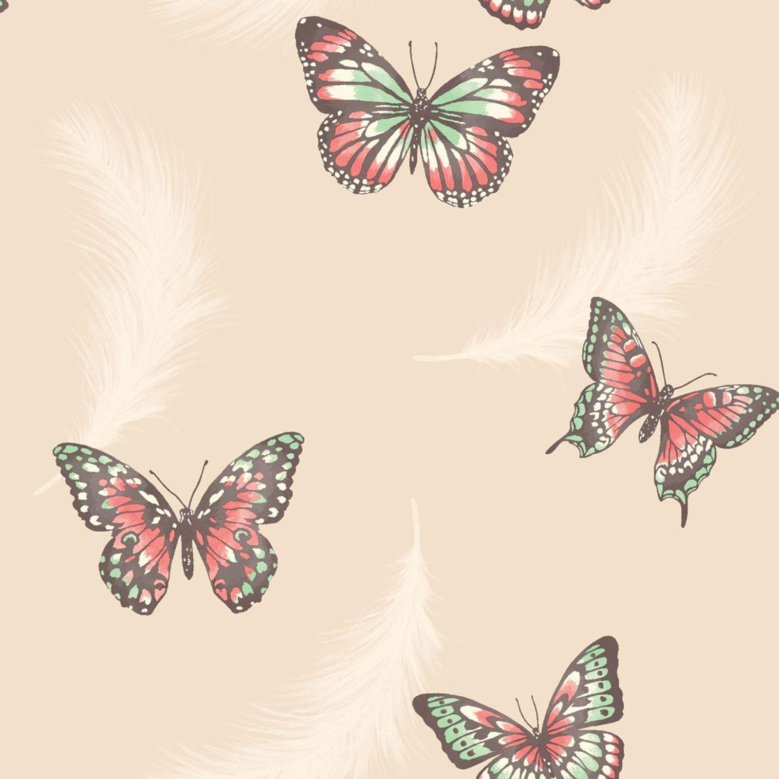 Girls bedroom butterfly wallpaper in pink white teal for Butterfly wallpaper for walls