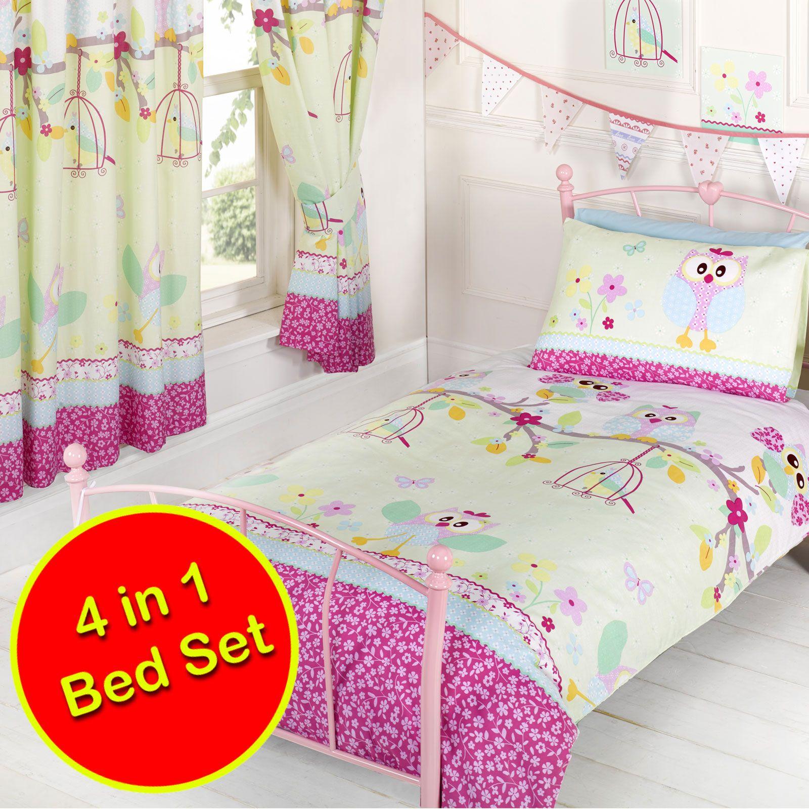 Twit twoo 39 hiboux 39 ensemble de literie junior couverture oreiller - Ensemble literie 140x190 ...