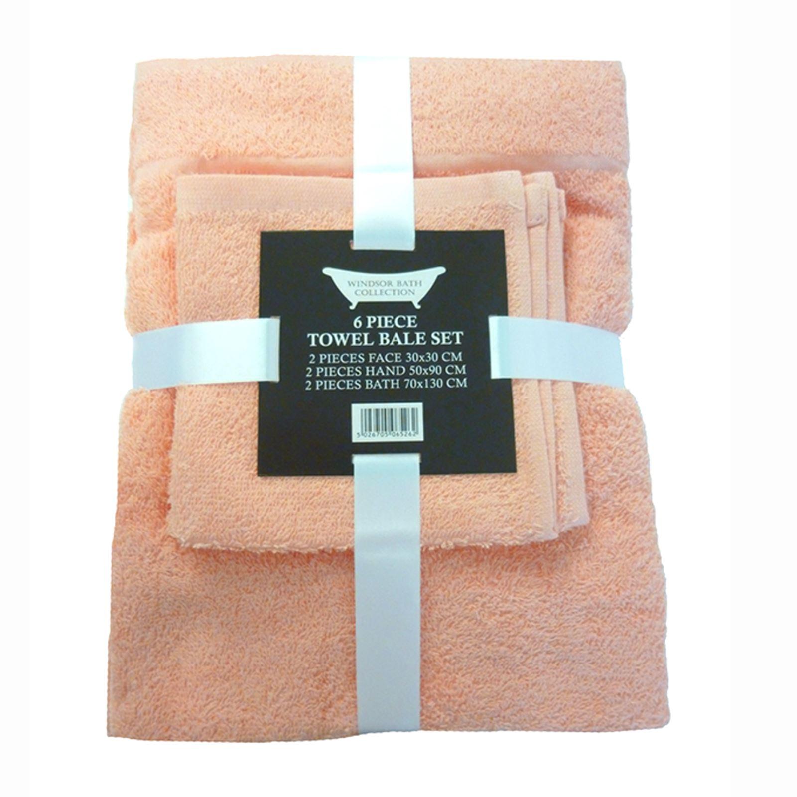 6 Piece 100% Cotton Bath Towel Bale Set - 9 Colours - Bathroom - New