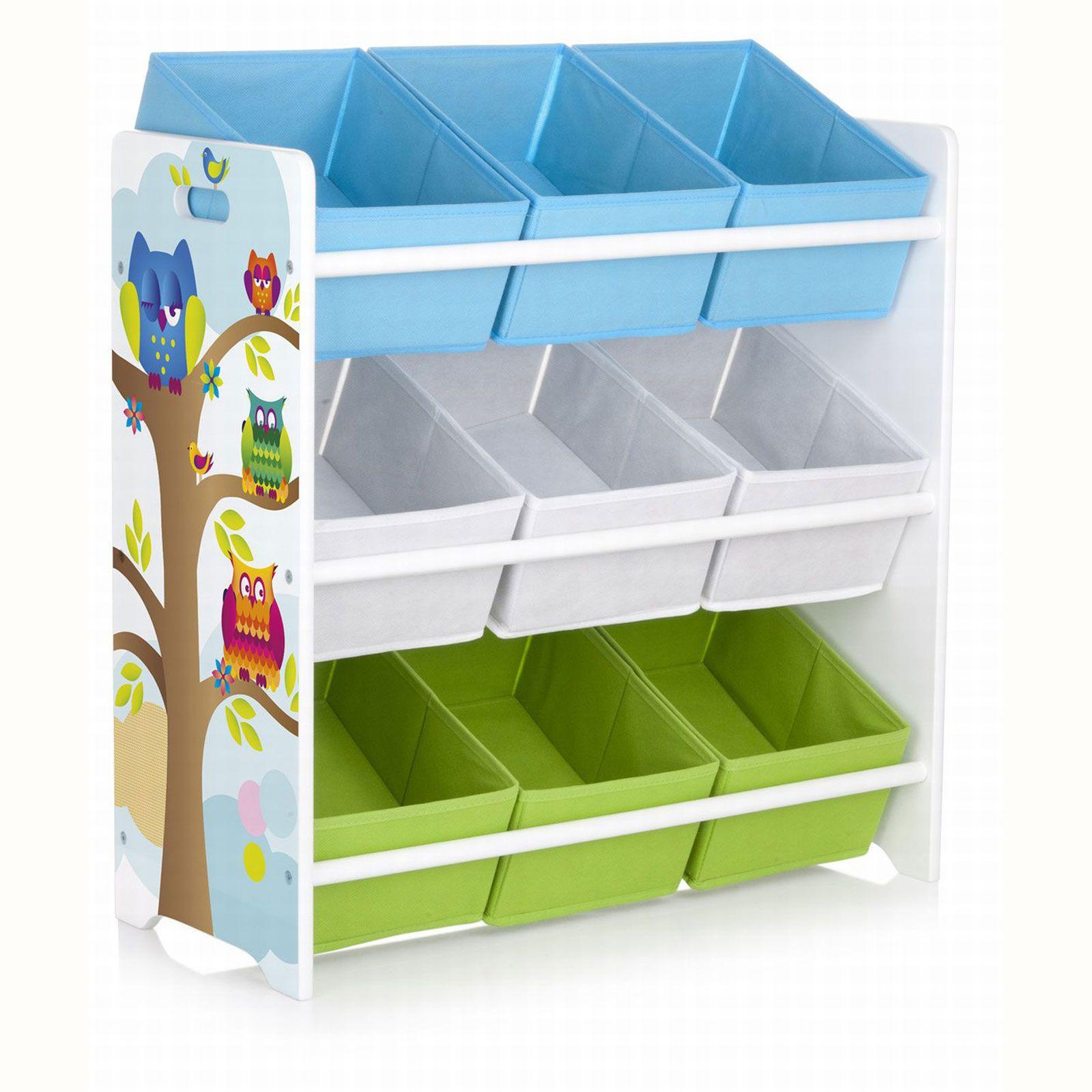 details about owls 9 bin storage unit new mdf kids bedroom furniture