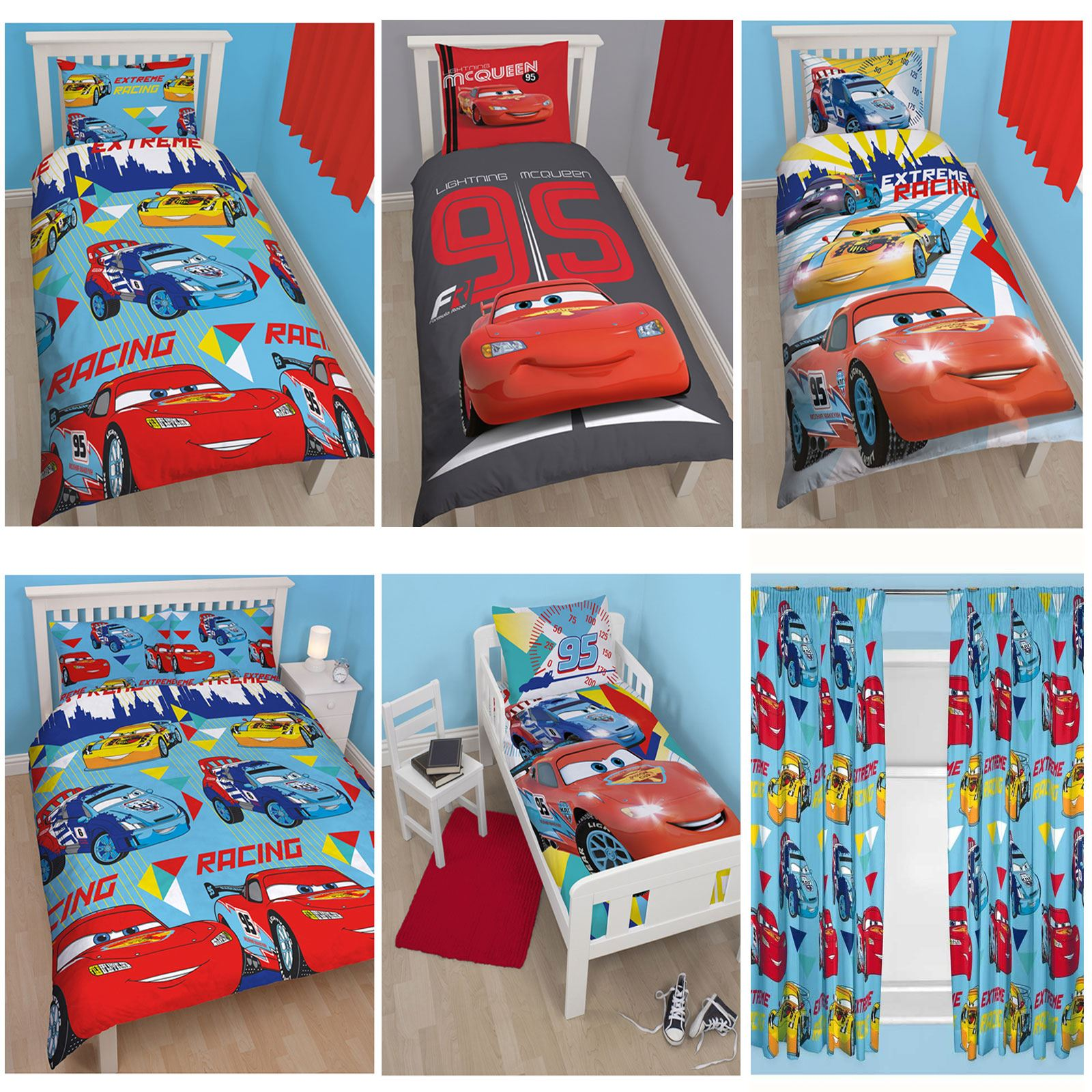 DISNEY CARS DUVET COVER SETS IN SINGLE DOUBLE AND JUNIOR SIZES BOYS BEDROOM