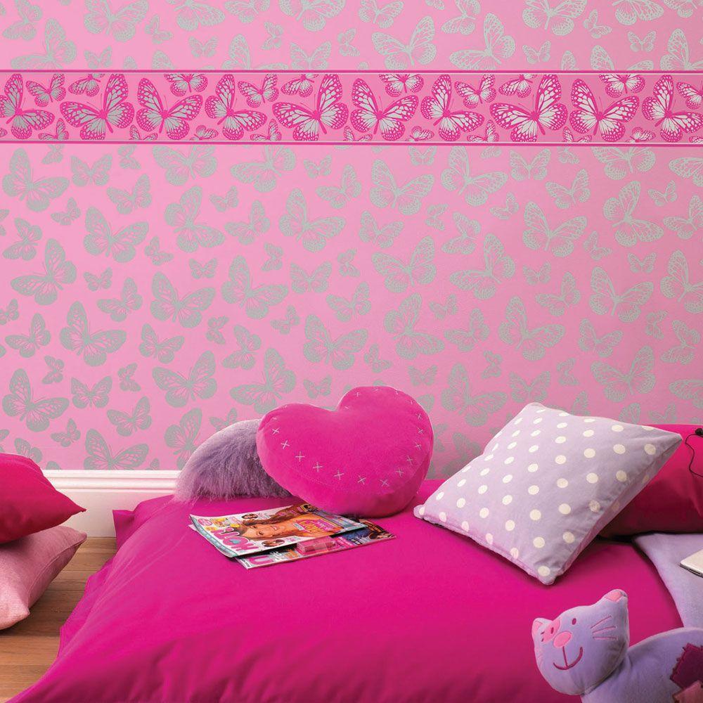 Girls generic bedroom wallpaper borders butterfly flowers for Girls bedroom wallpaper
