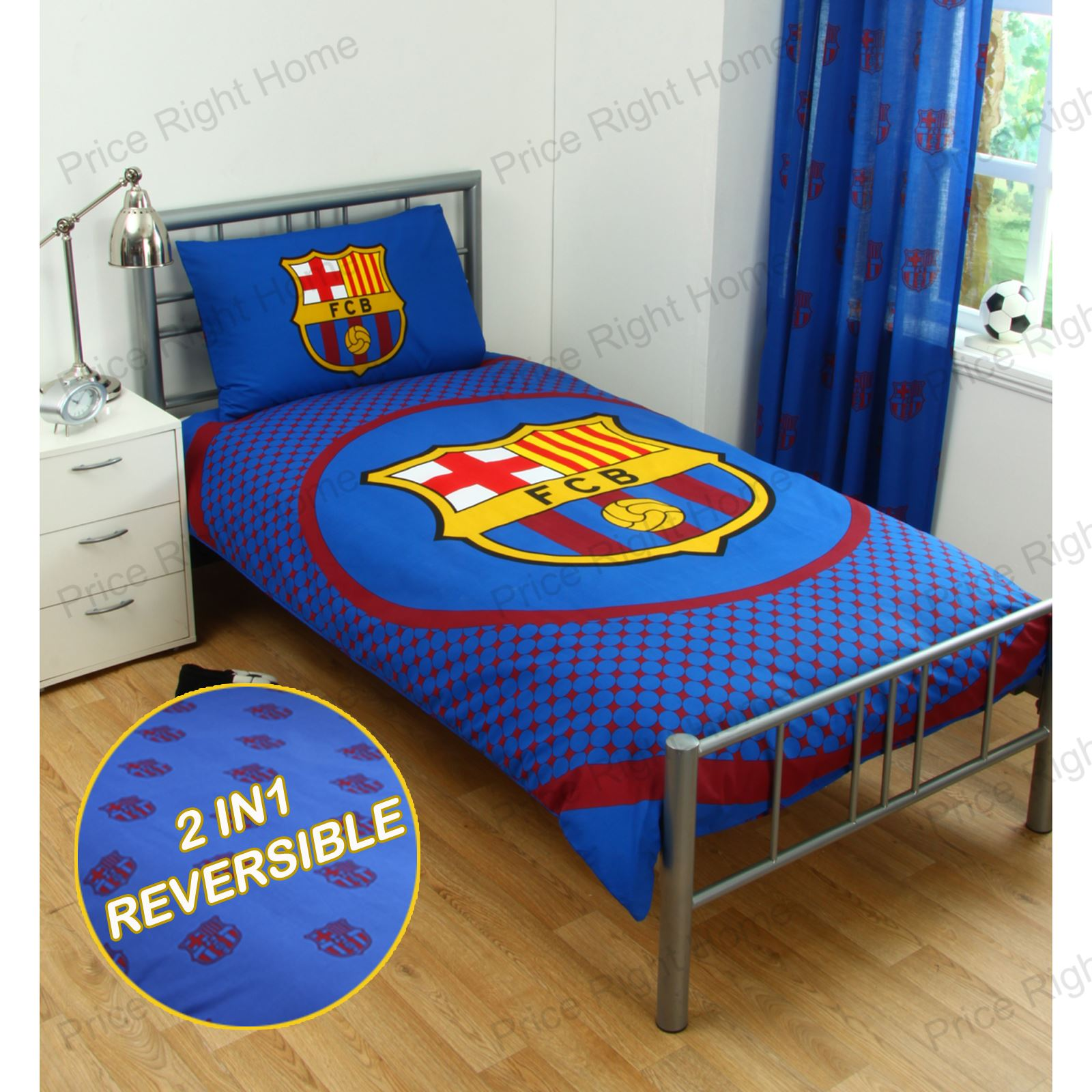 Barcelona bedding and bedroom accessories boys football for Chambre barcelona