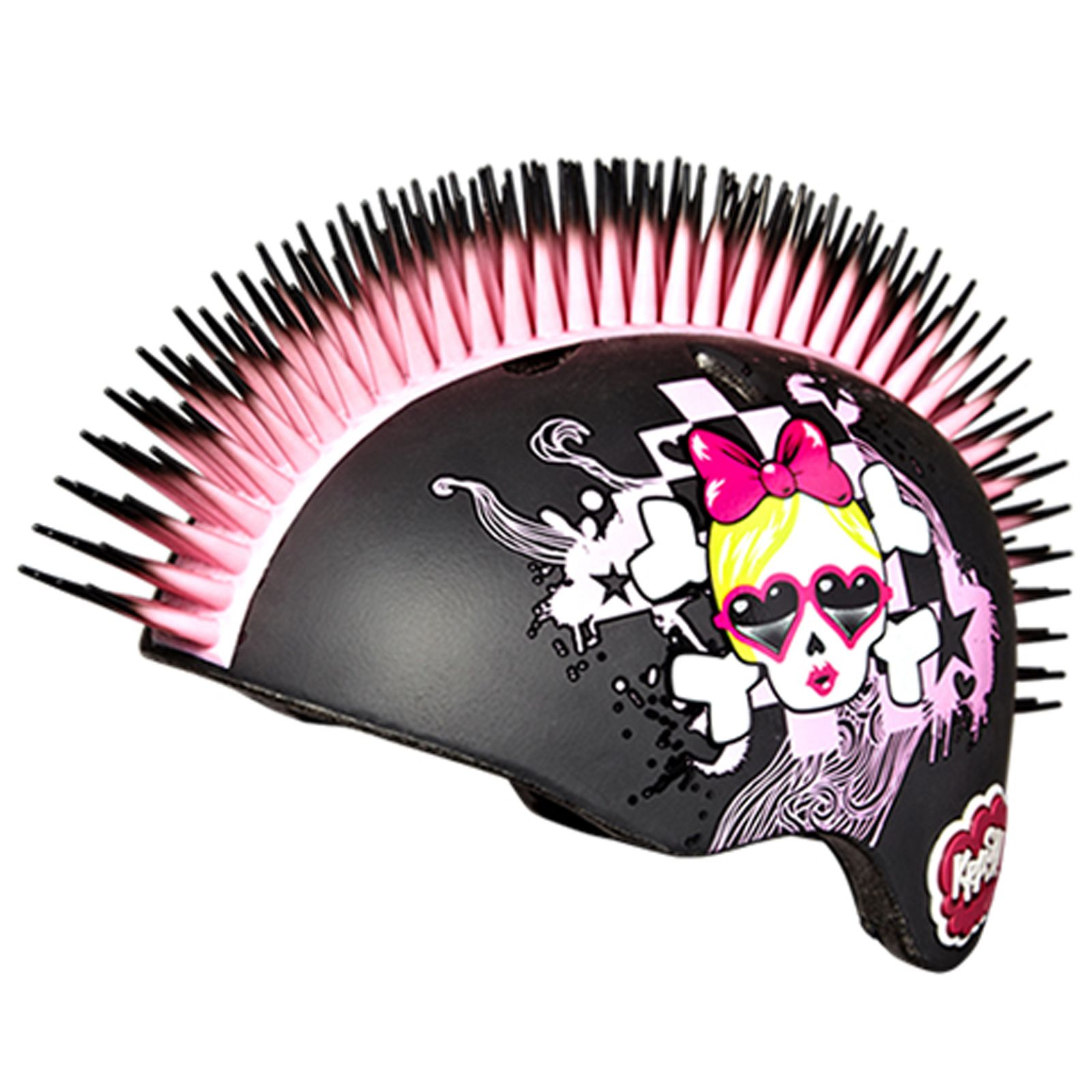 about KRASH SKULL CHECK BLACK  amp  PINK MOHAWK GIRLS SAFETY HELMETPink Mohawk Helmet