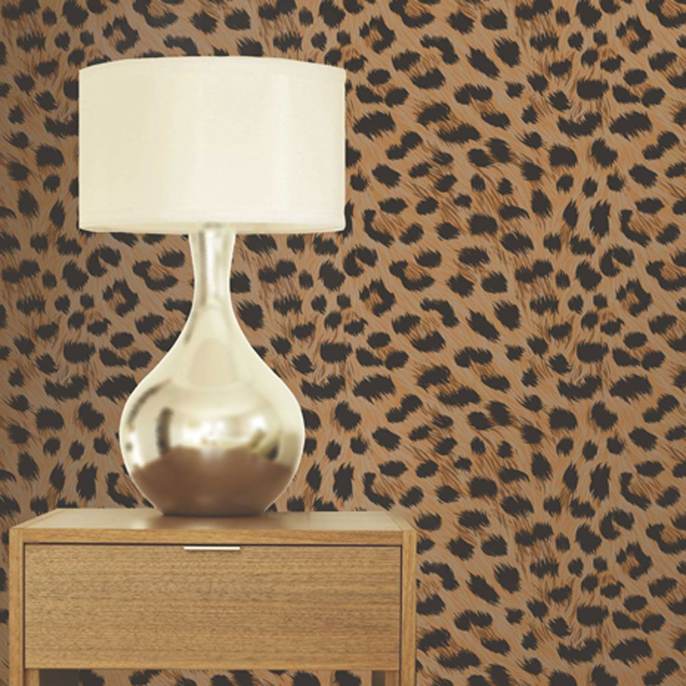 leopard print wallpaper gold brown pattern bedroom feature wall free