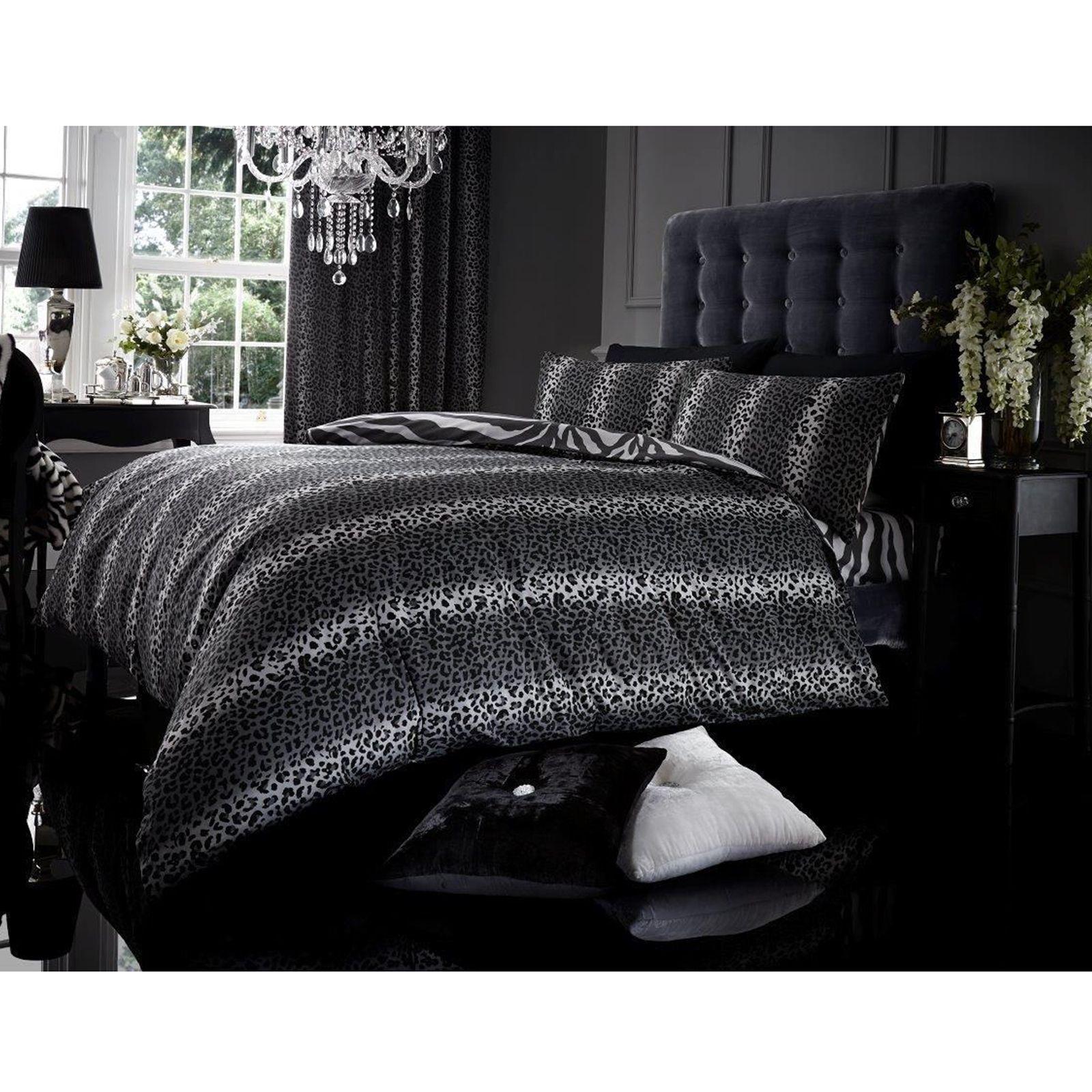 leoparden druck tigerfell wendbarer bettbezug einzelbett grau schwarz ebay. Black Bedroom Furniture Sets. Home Design Ideas