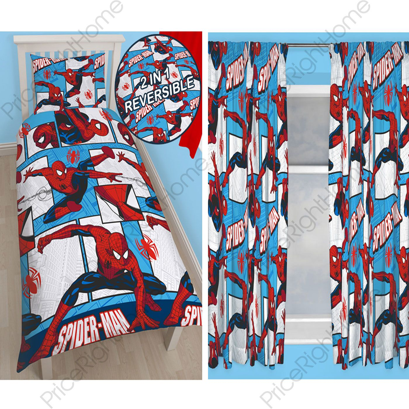 Spiderman rotary bedroom range single duvet cover - Letto di spiderman ...
