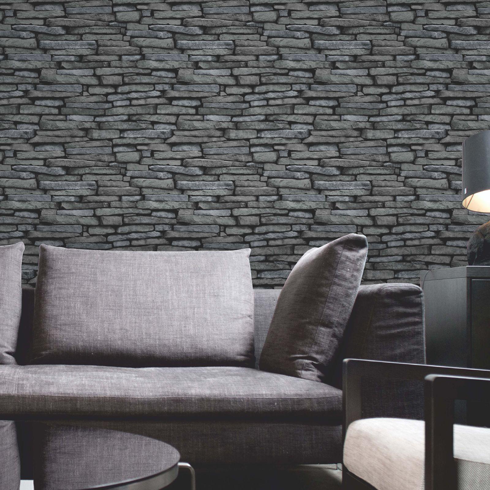 luxus tapete 10m stein ziegelstein holz schiefer optik neu ebay. Black Bedroom Furniture Sets. Home Design Ideas