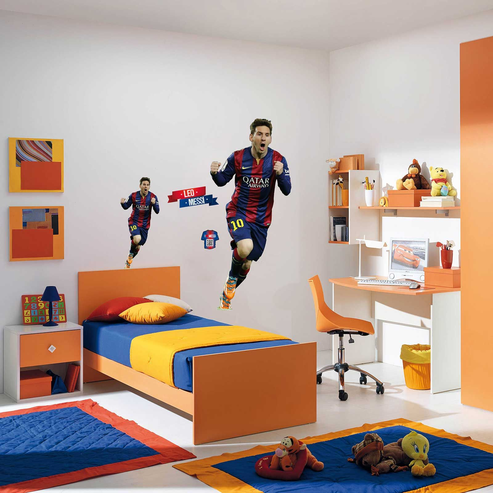 Fc barcelona lionel messi xl wall sticker new room decor for Chambre barcelona