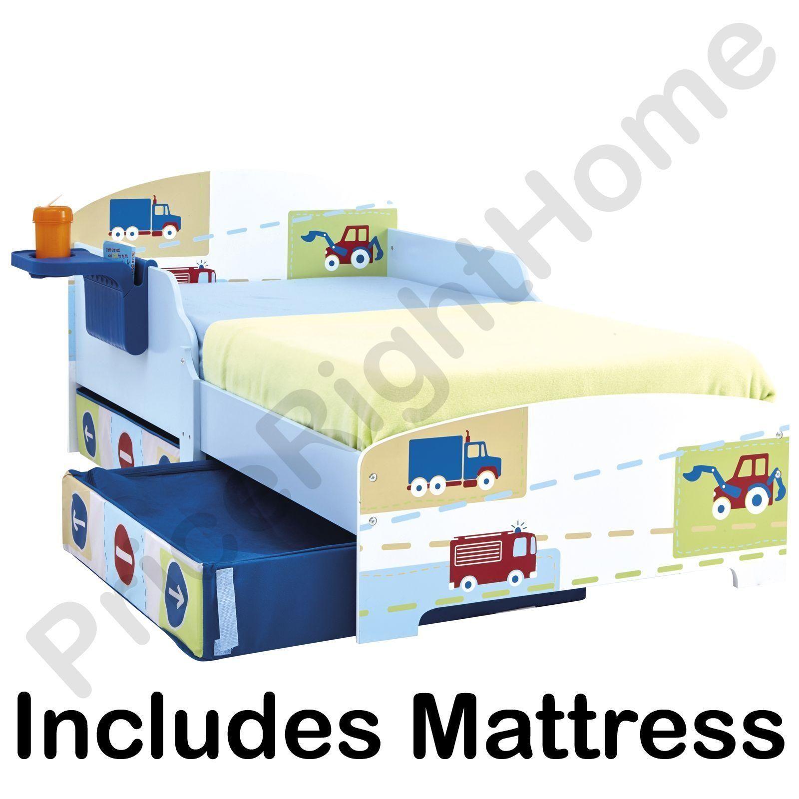 jungen lkw traktoren kleinkind bett mit aufbewahrung ablagefach feder ebay. Black Bedroom Furniture Sets. Home Design Ideas