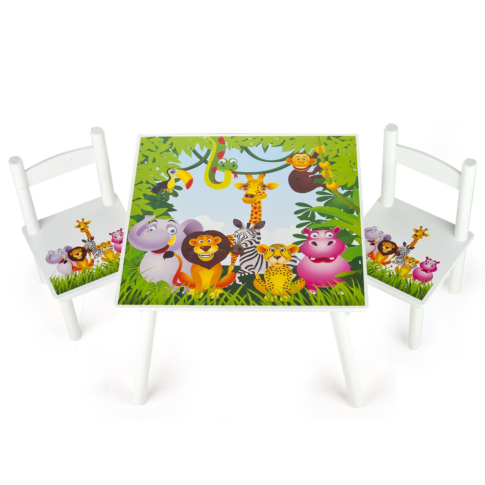 Jungle animals wooden table 2 chairs set new childrens for Table design jungle