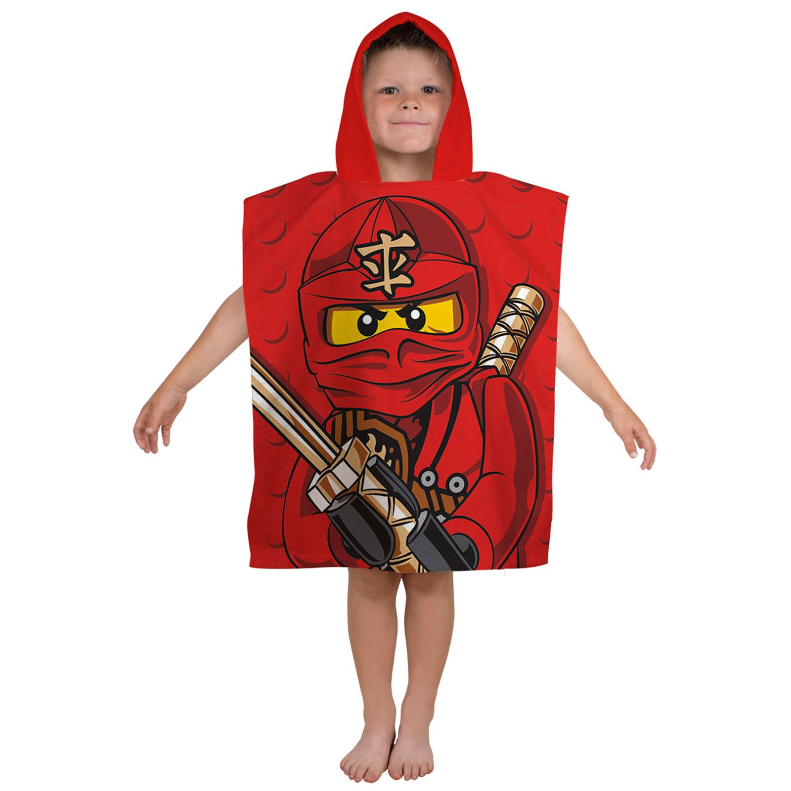 offiziell lego ninjago warrior kapuzen poncho handtuch rot kinder baumwolle ebay. Black Bedroom Furniture Sets. Home Design Ideas