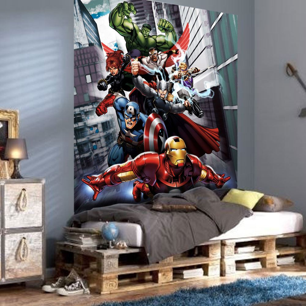Marvel comics and avengers wallpaper wall murals d cor bedroom for Avengers wallpaper mural