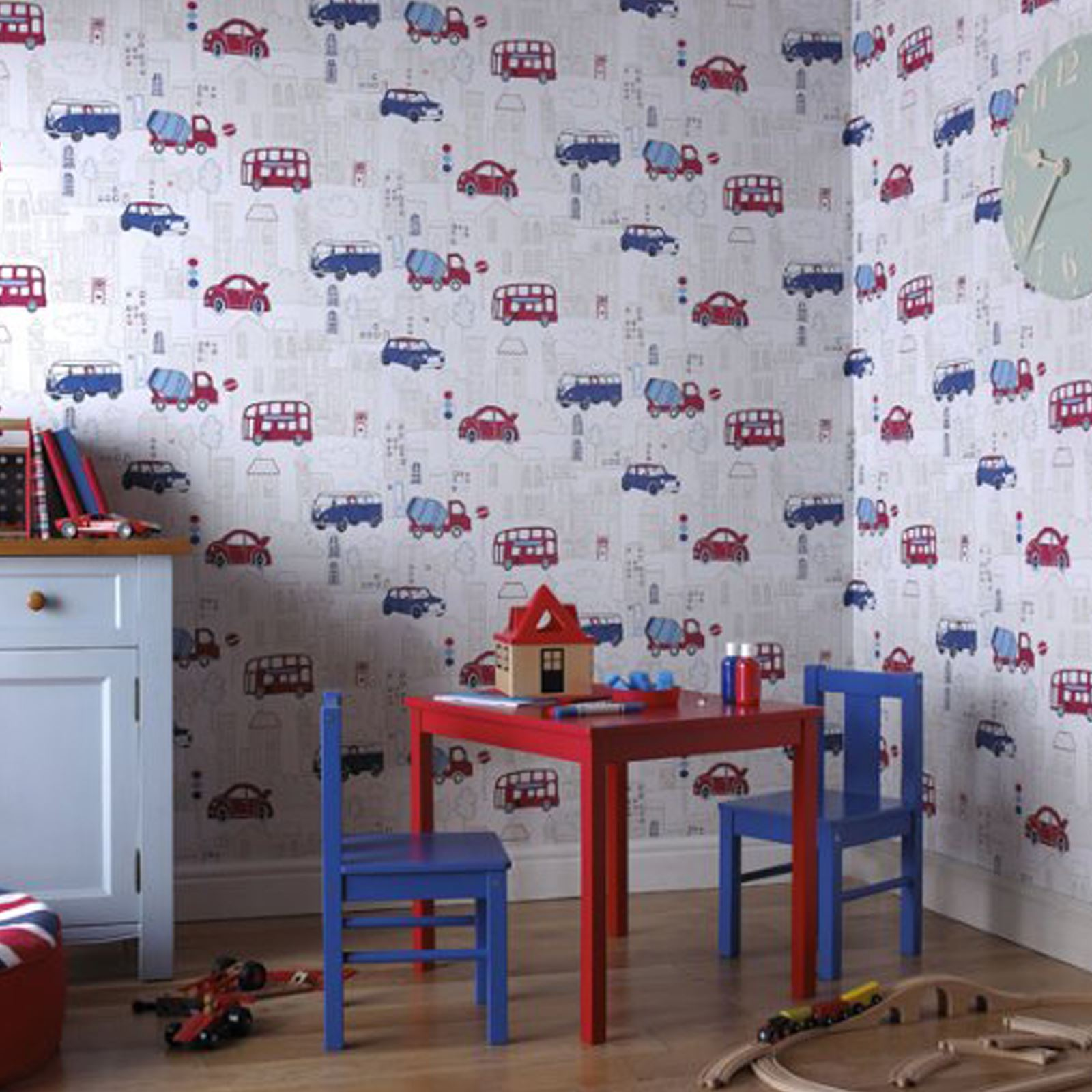 Transport and vehicles themed wallpaper borders bedroom for Themed bedroom wallpaper