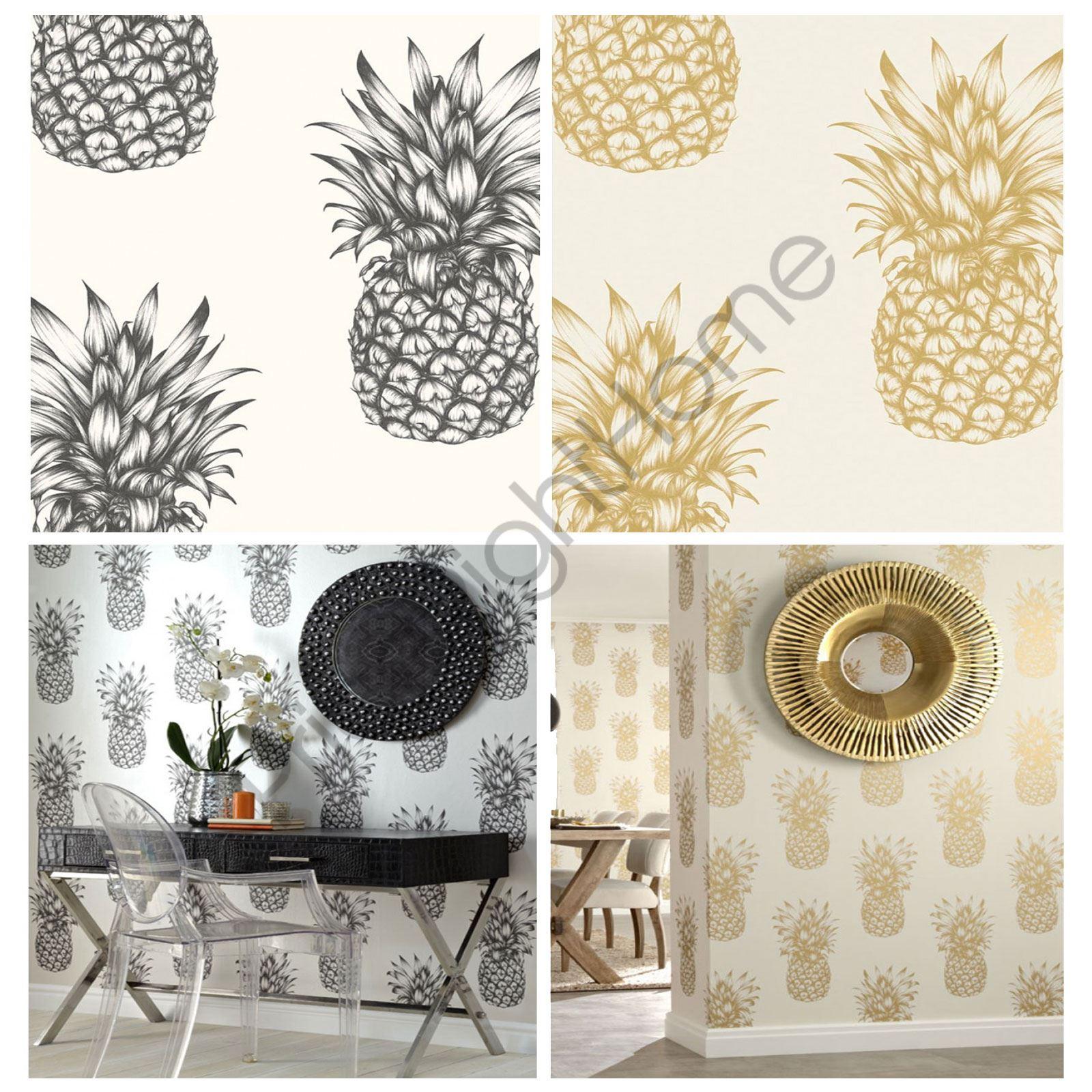 Arthouse Tropics Copacabana Pineapple Wallpaper Gold Black