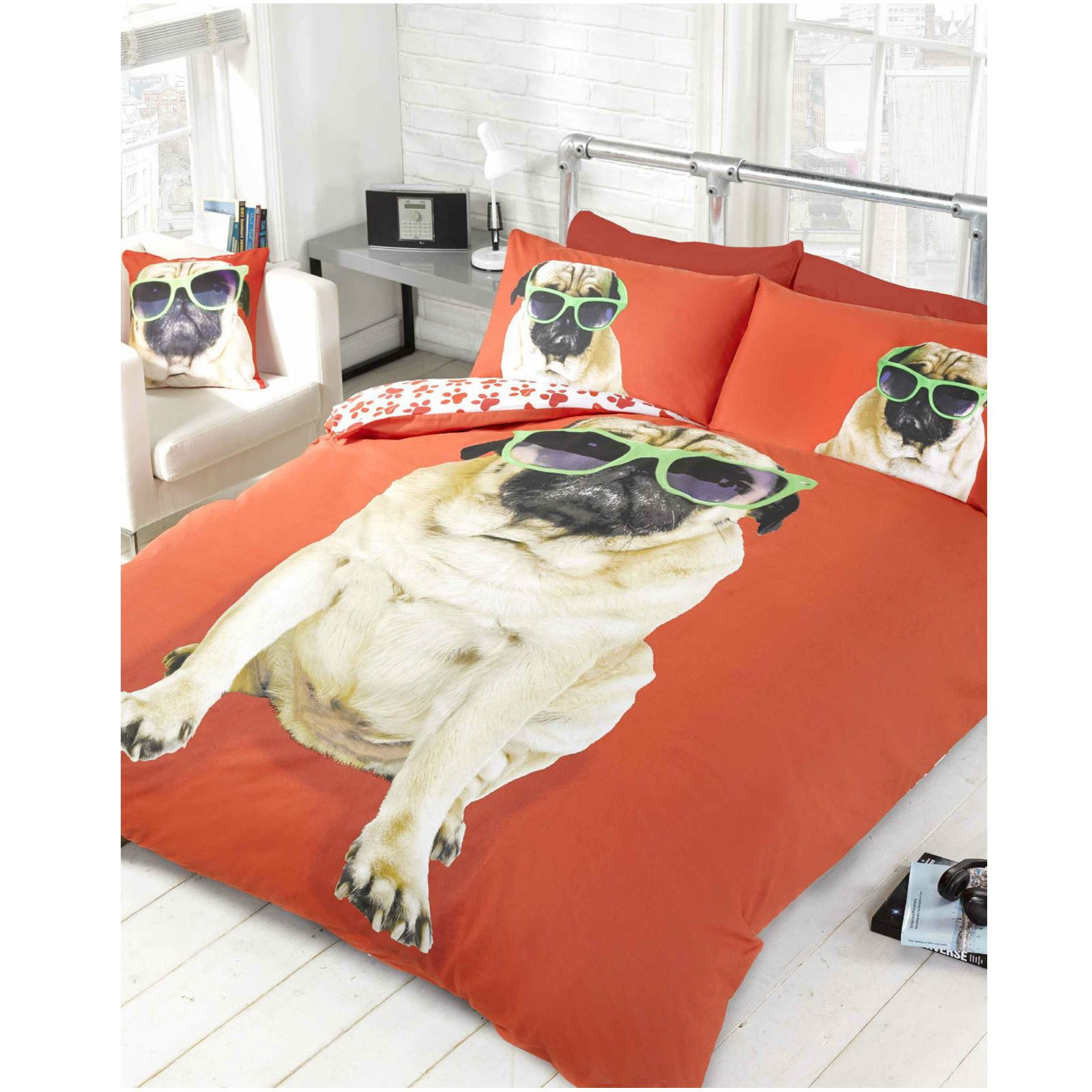 Pug design duvet cover sets in single and double kids for Drap housse double