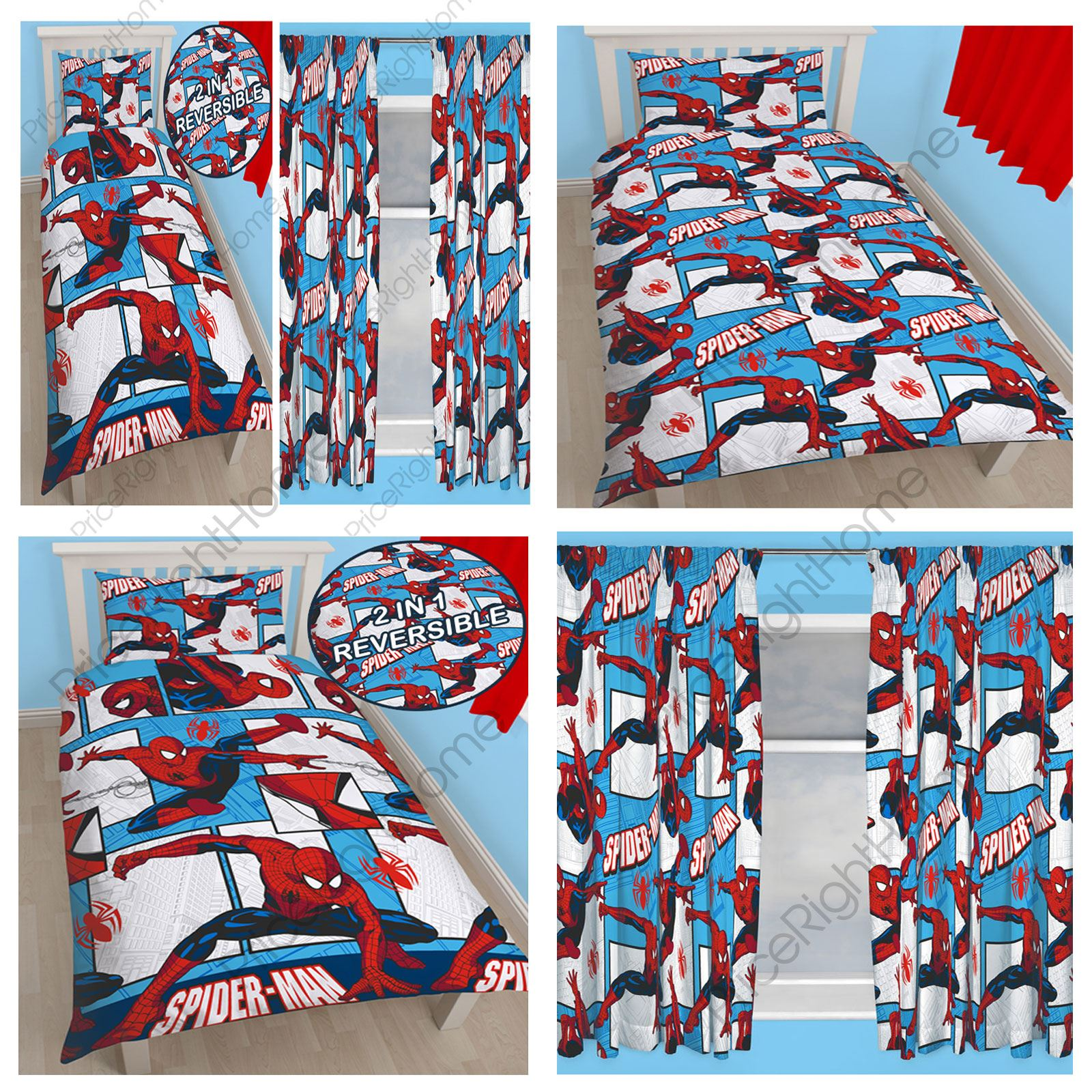 Spiderman Rotary Bedroom Range Single Duvet Cover Matching Curtains Available Ebay