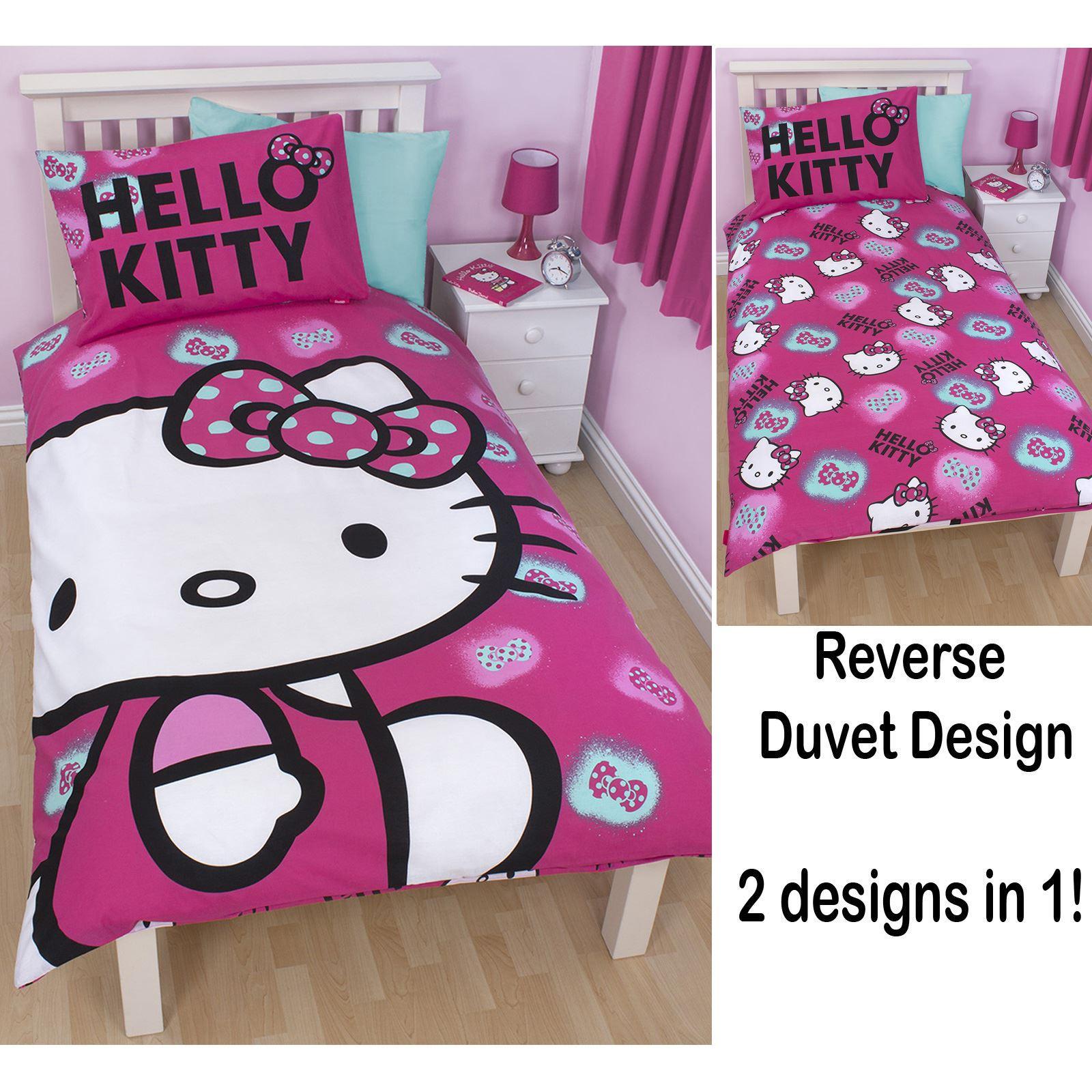 hello kitty ink einzel bettw sche 66 x 72 vorh nge. Black Bedroom Furniture Sets. Home Design Ideas