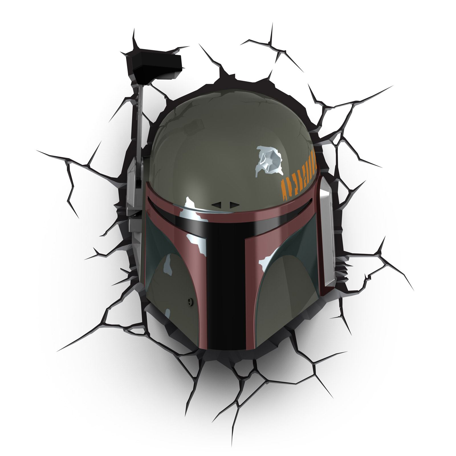 Star wars boba fett 3d led wall light with crack stickers new room decor ebay - Decoration murale led ...
