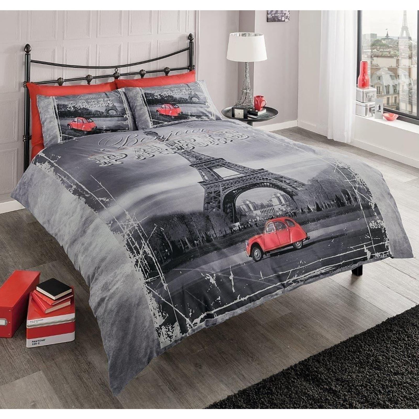 Modern paris eiffel tower king size duvet cover pillowcase for Housse tour de lit