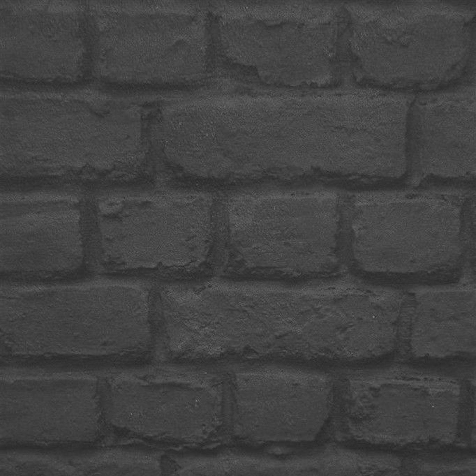 Schwarze Backstein Tapete : Black and Grey Textured Brick Wall