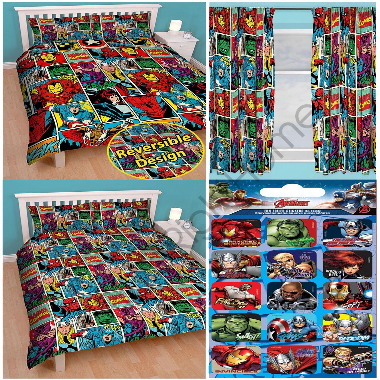 Marvel Comics Strike Double Rotary Duvet Free Stickers Choice Of Curtains Ebay