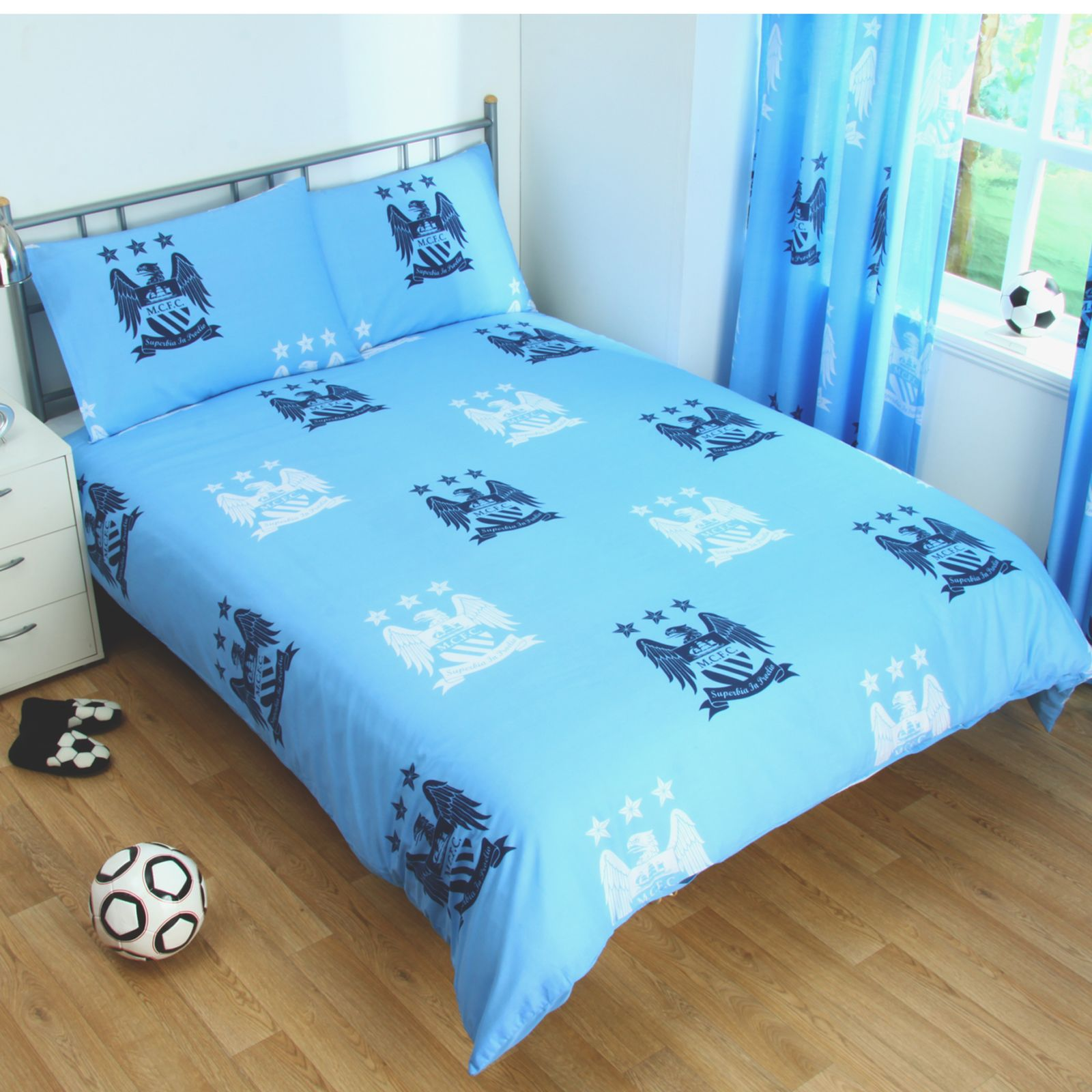 manchester city fc housse de couette double nouvelle football homme chambre ebay. Black Bedroom Furniture Sets. Home Design Ideas