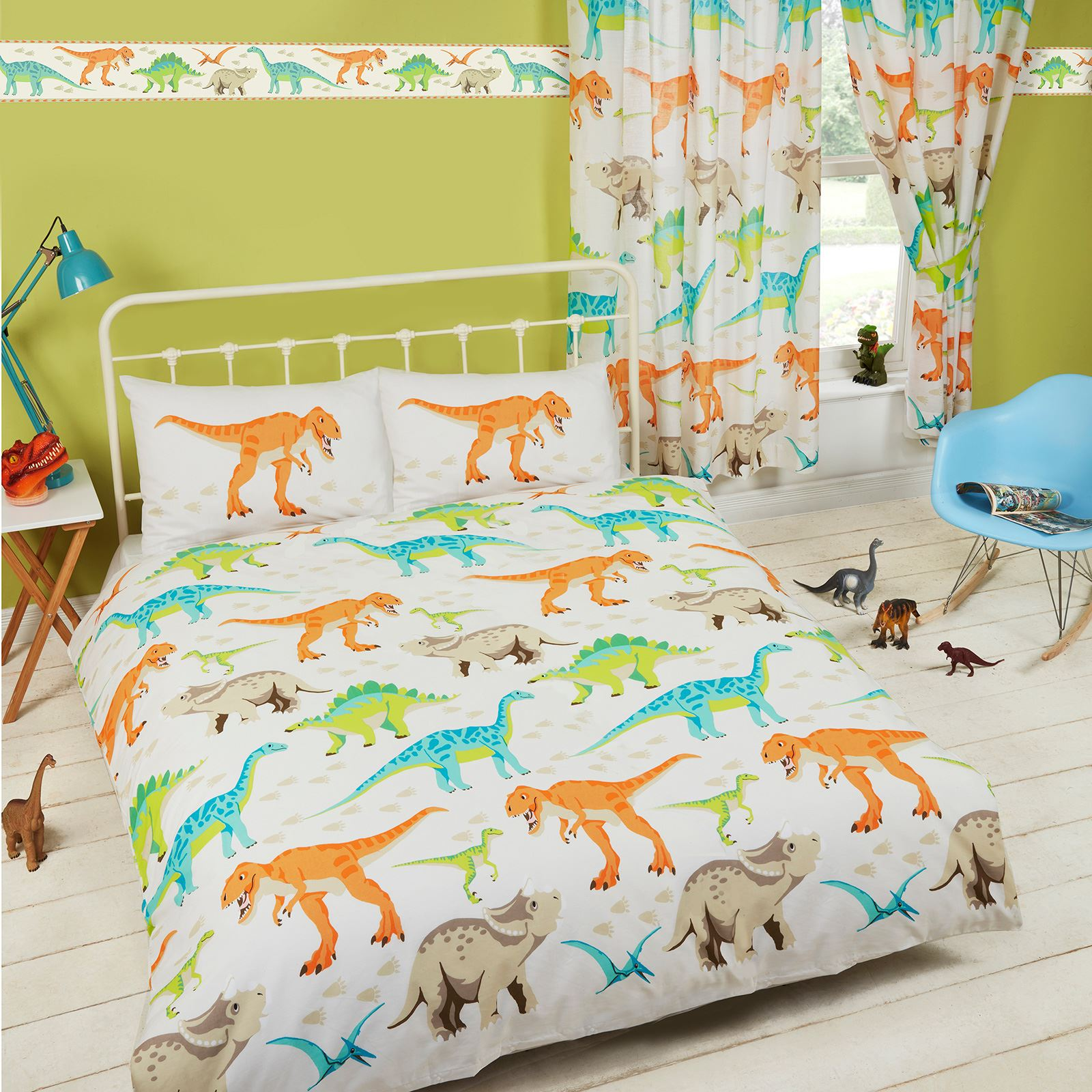 DINOSAUR WORLD KIDS MATCHING BEDDING SETS CURTAINS ...