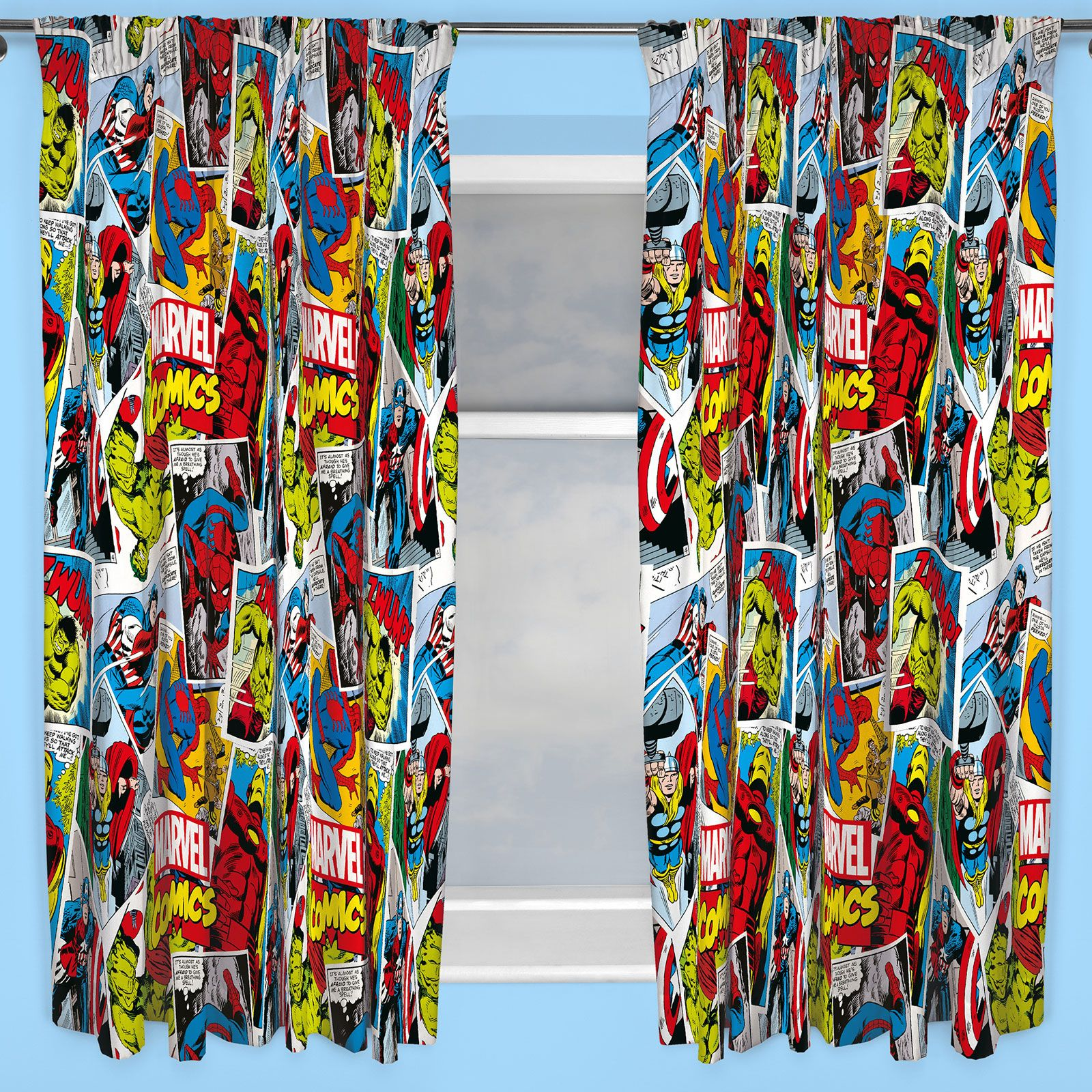"""Dulux Marvel Avengers Bedroom In A Box Officially Awesome: MARVEL COMICS 'JUSTICE' 66"""" X 72"""" CURTAINS IRON MAN HULK"""