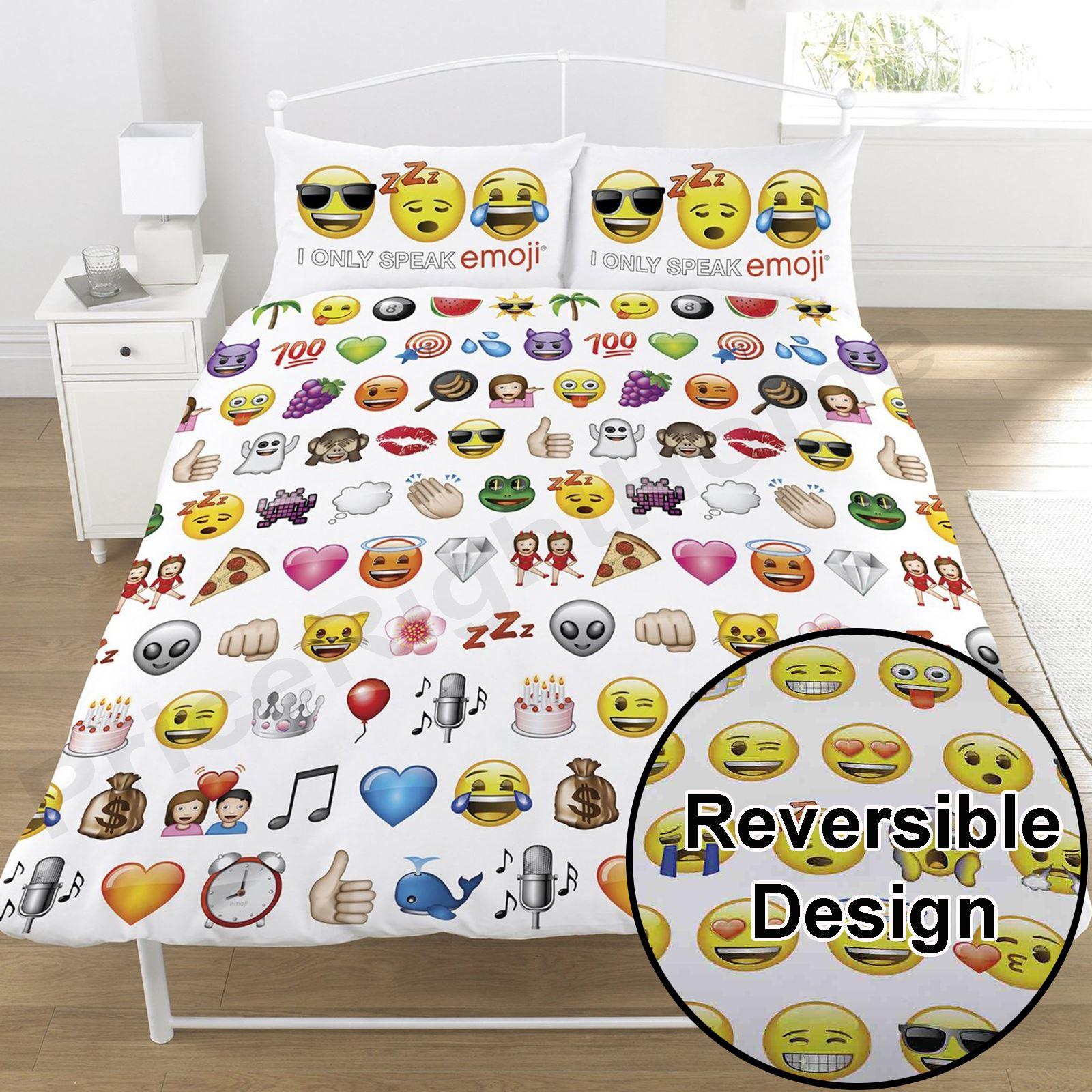 Emoji Multi Smiley Face Double Duvet Cover Set Bedding