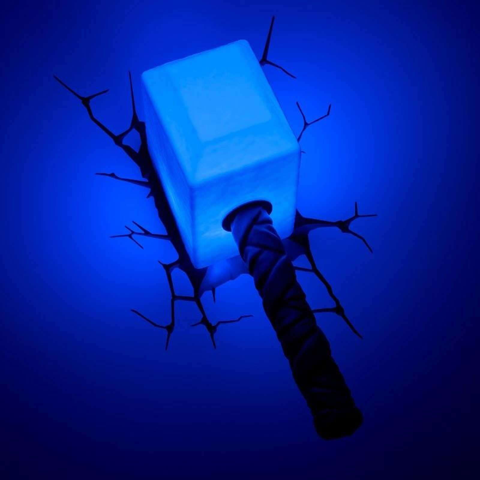 Details about marvel avengers thor hammer 3d led wall light lamp new