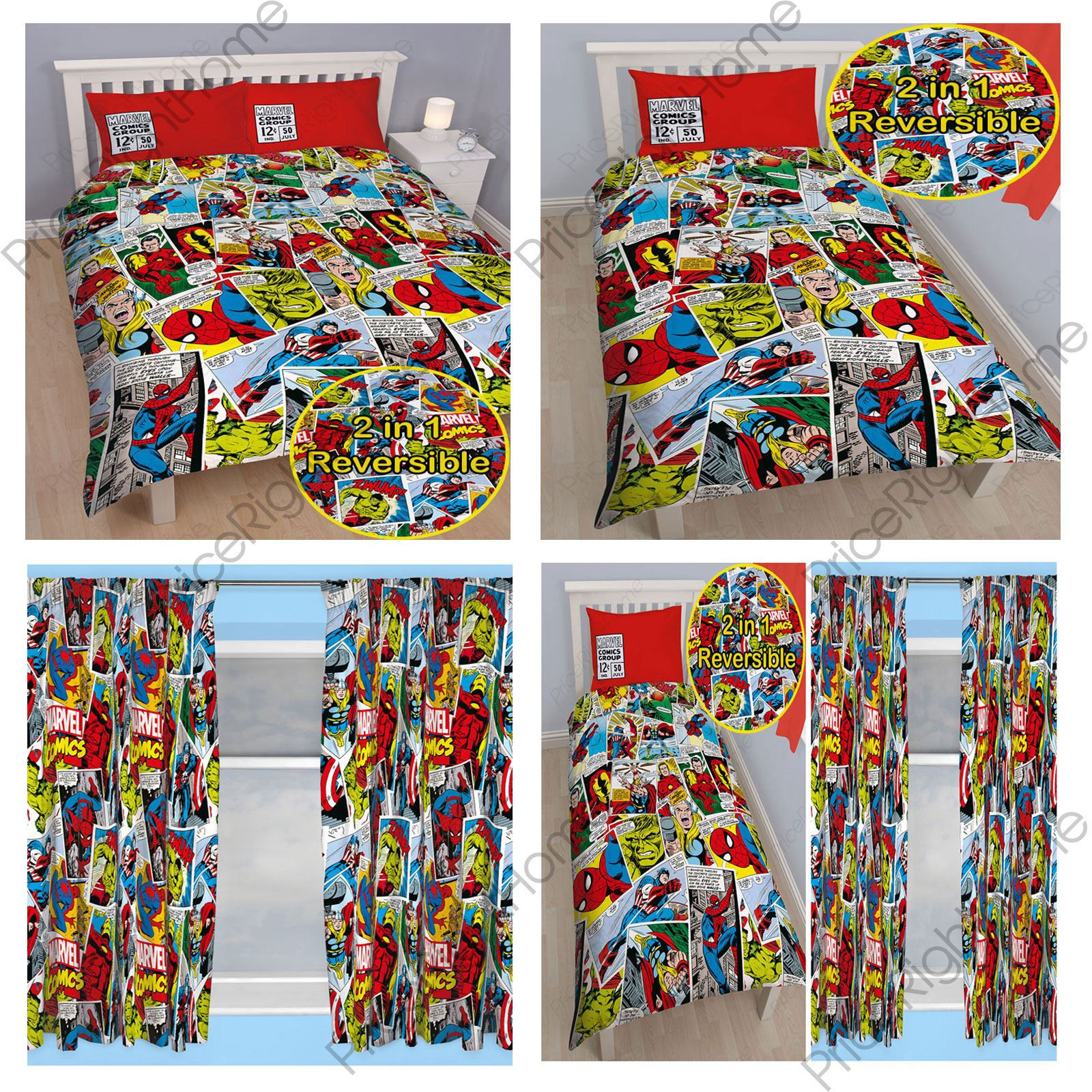 Marvel Comics Justice Duvet Cover Sets Matching 54 72 Curtains Ebay