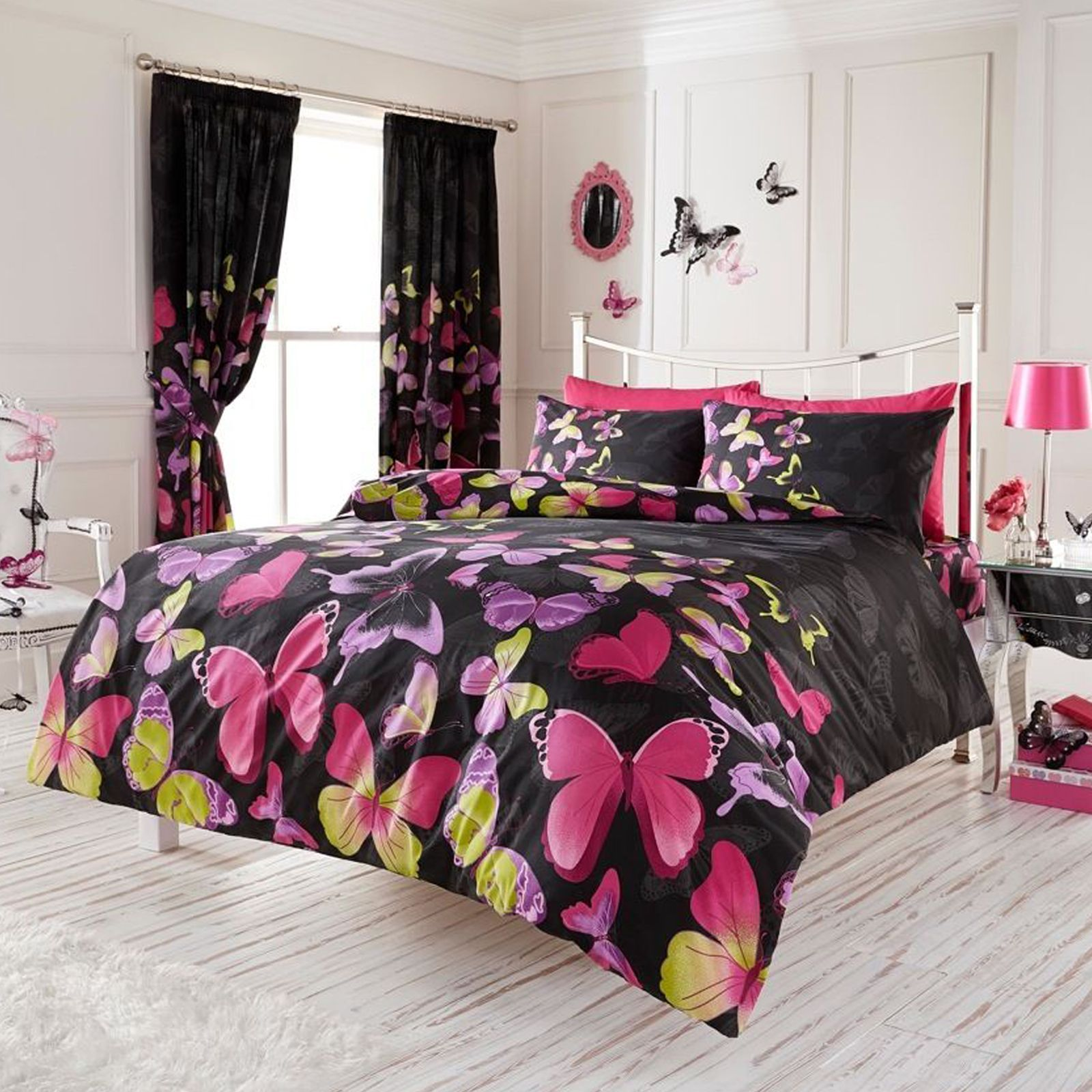 fashion butterfly king size duvet cover set black pink