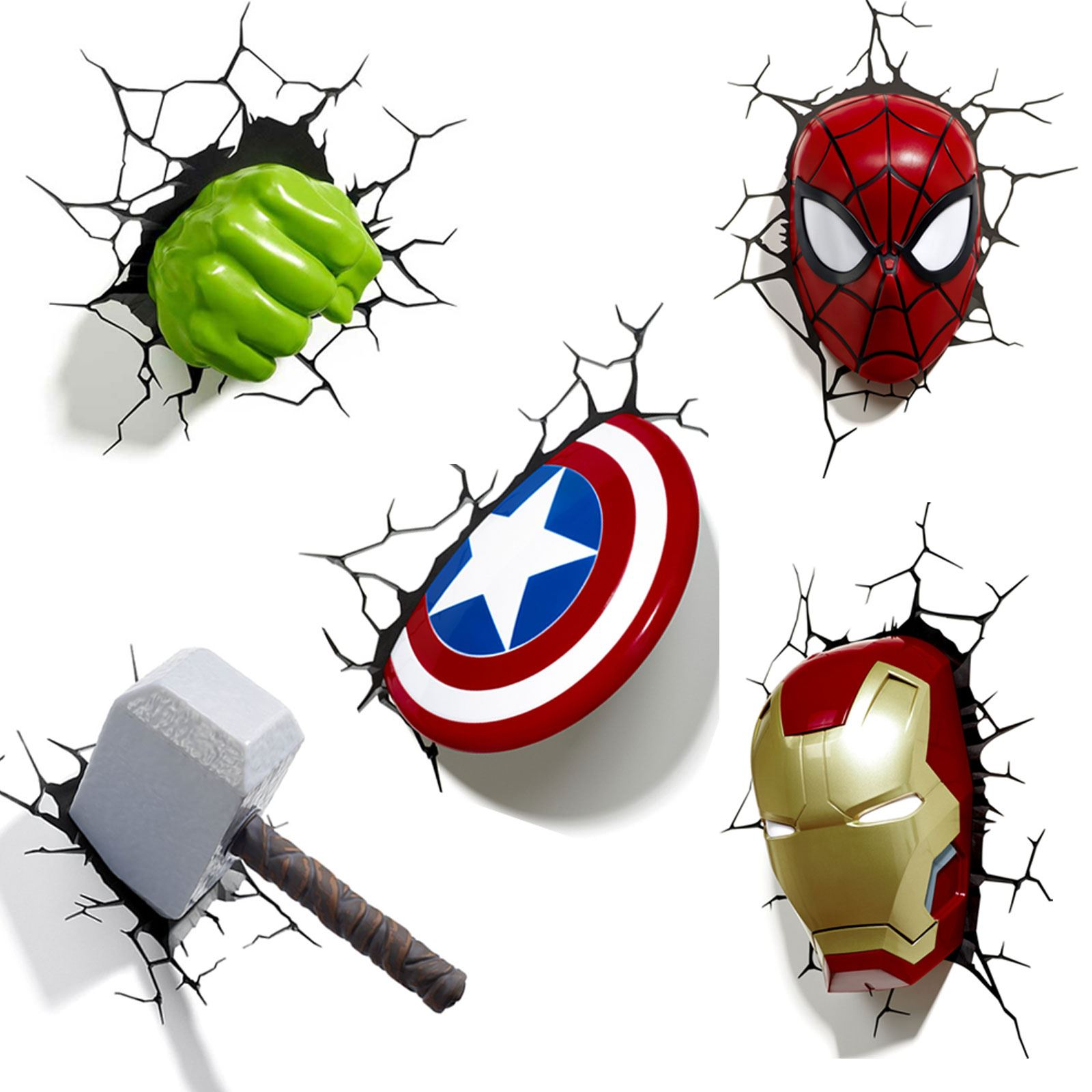 Marvel Lights On Wall : MARVEL AVENGERS 3D WALL LIGHT - HULK, IRON MAN, CAPTAIN AMERICA, THOR, SPIDERMAN eBay