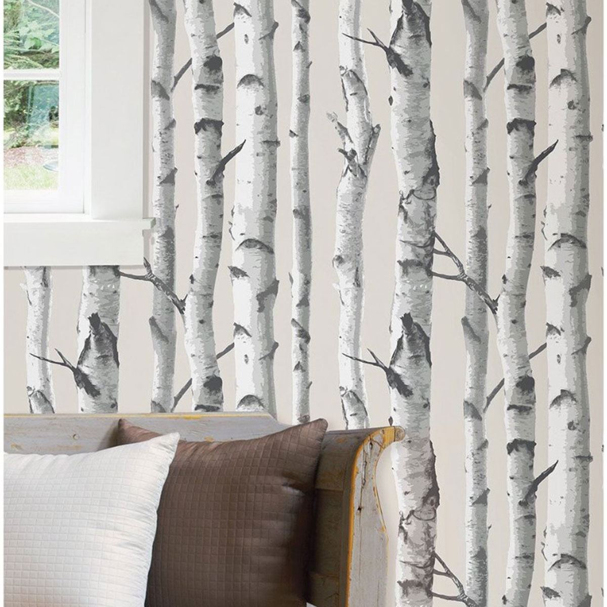 Nuwallpaper birch tree peel stick wallpaper grey nu1650 for Tree wallpaper for walls