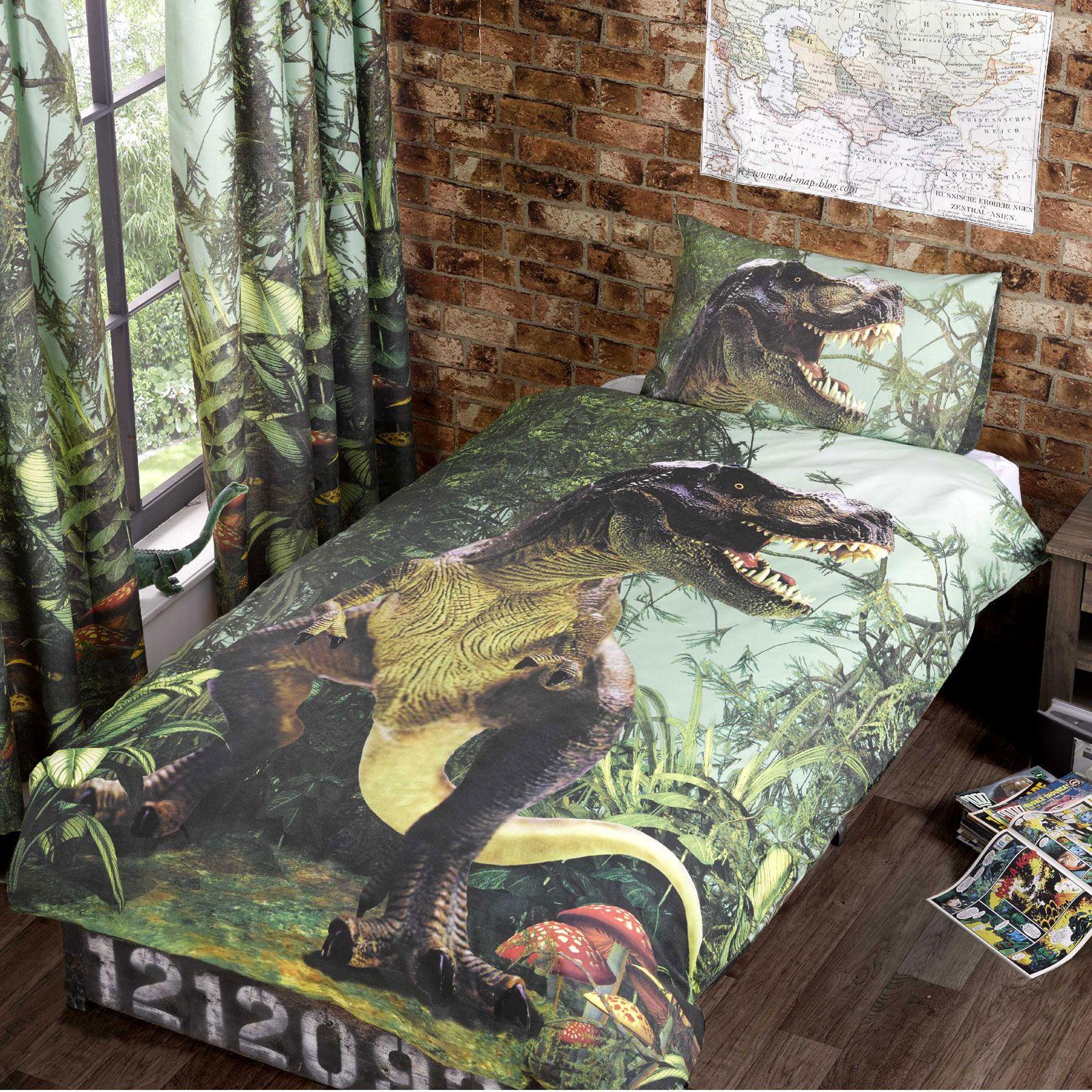 T rex dinosaures set housse de couette simple neuf - Housse de couette dinosaure ...