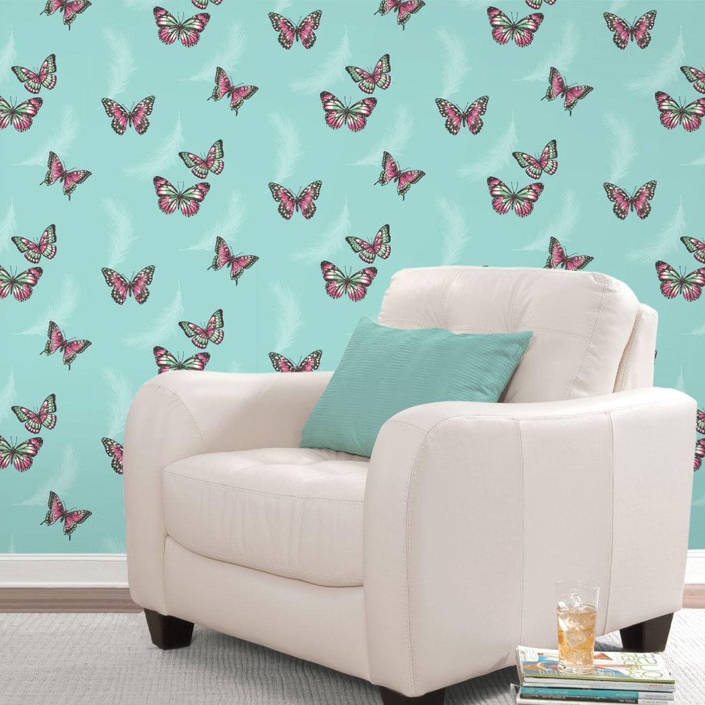 Girls Chic Wallpaper Kids Bedroom Feature Wall Decor