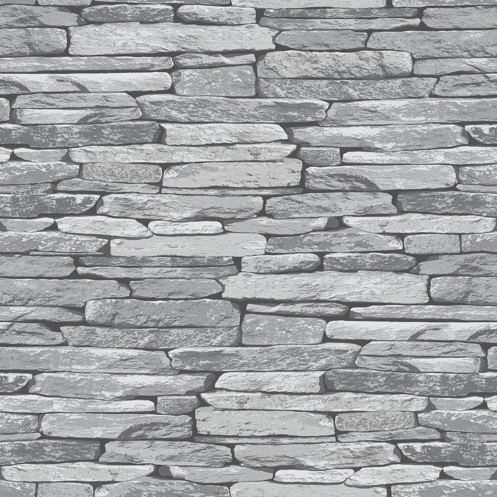 Slate stone wall effect wallpapers modern feature wall grey black natural - Effet pierre sur mur ...