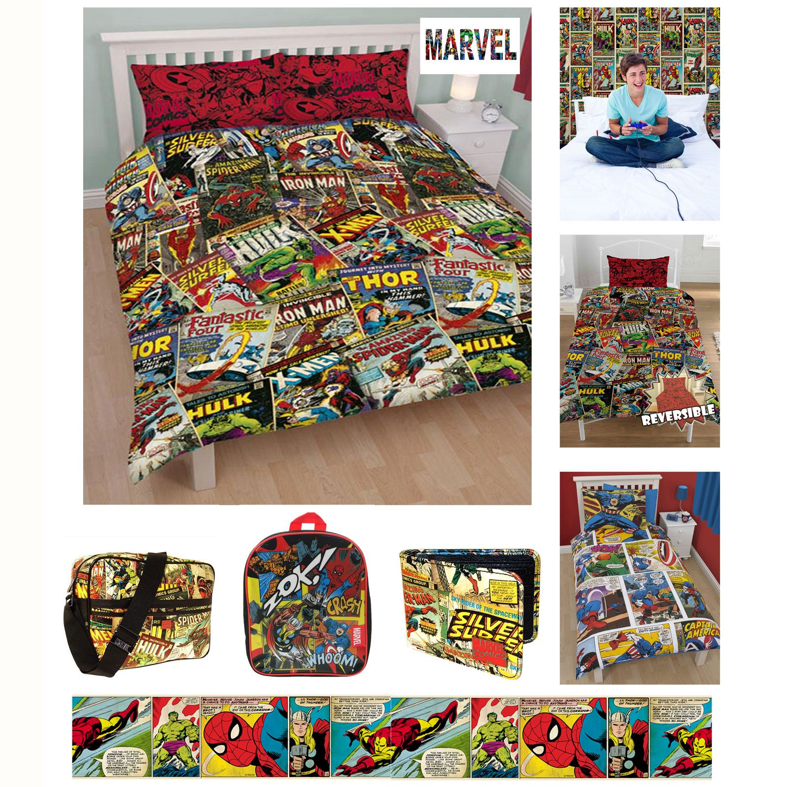 OFFICIAL MARVEL COMICS BEDDING AND BEDROOM ACCESSORIES ...