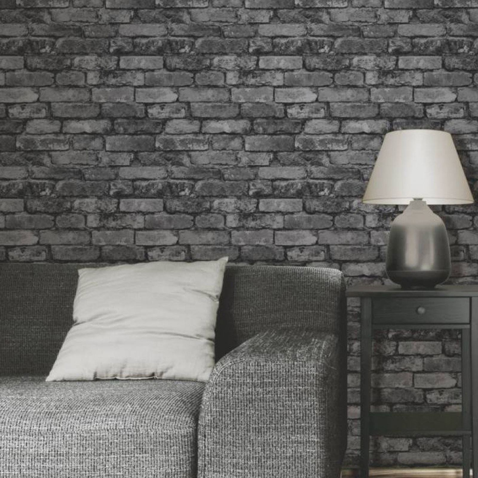 Rustic brick effect wallpaper 10m charcoal black silver for Grey brick wallpaper bedroom