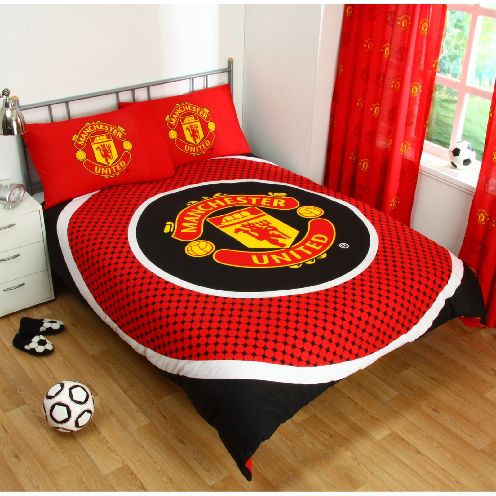 Manchester united double duvet cover set new man utd for Man u bedroom stuff