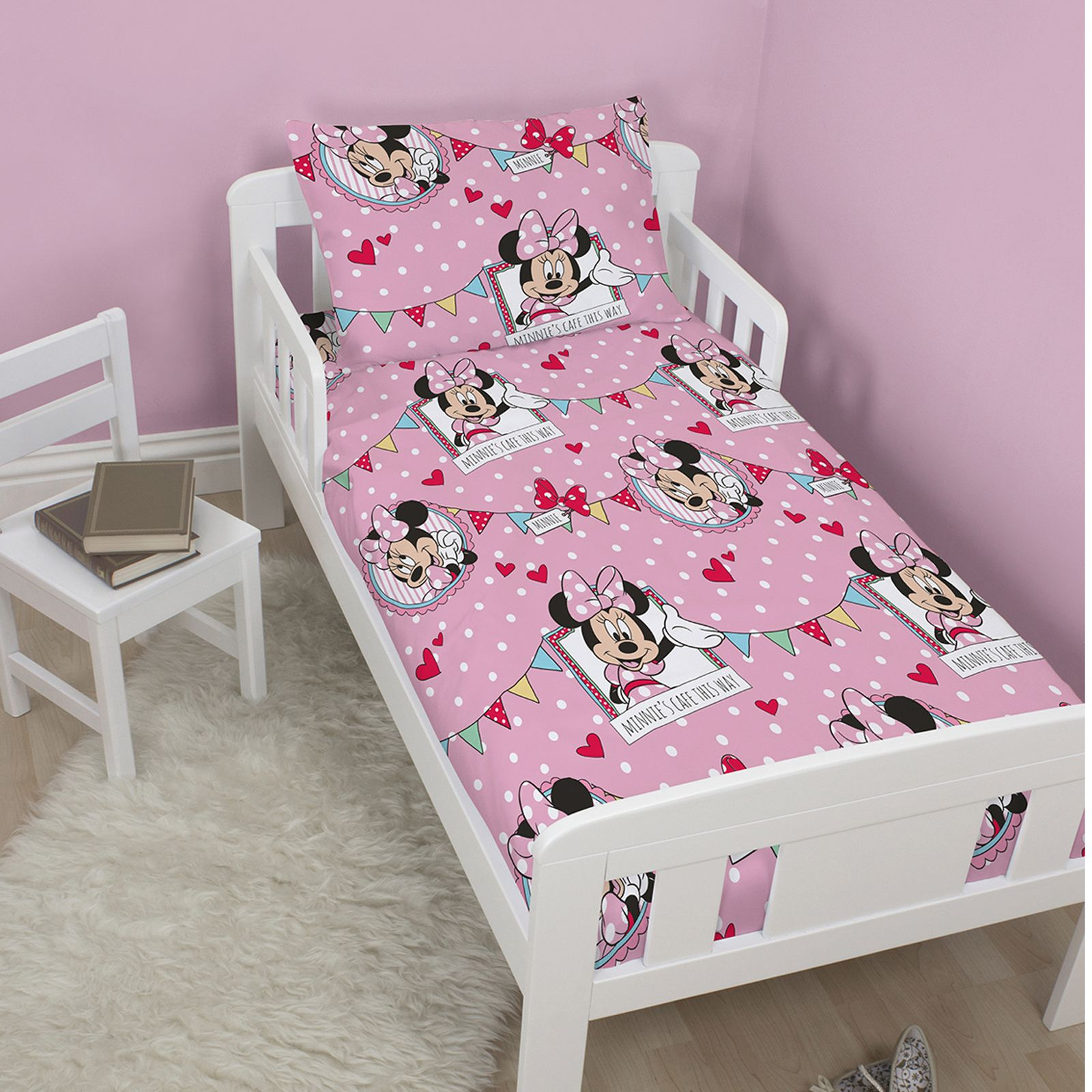 MINNIE MOUSE 'CAFE' JUNIOR BED SET 4 In 1 BEDDING BUNDLE