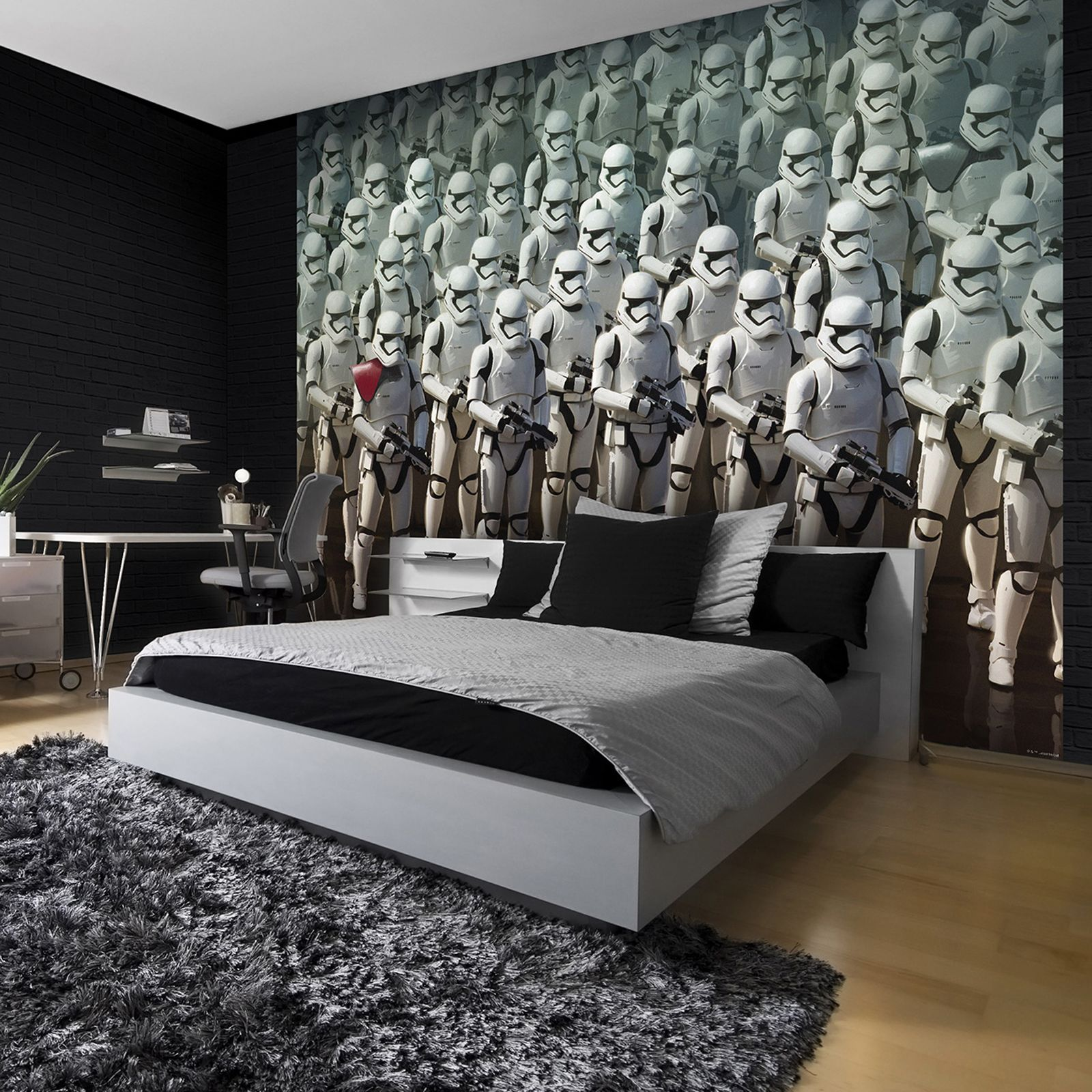 Star wars stormtrooper wall mural 254 x 184cm ebay for Death star wall mural